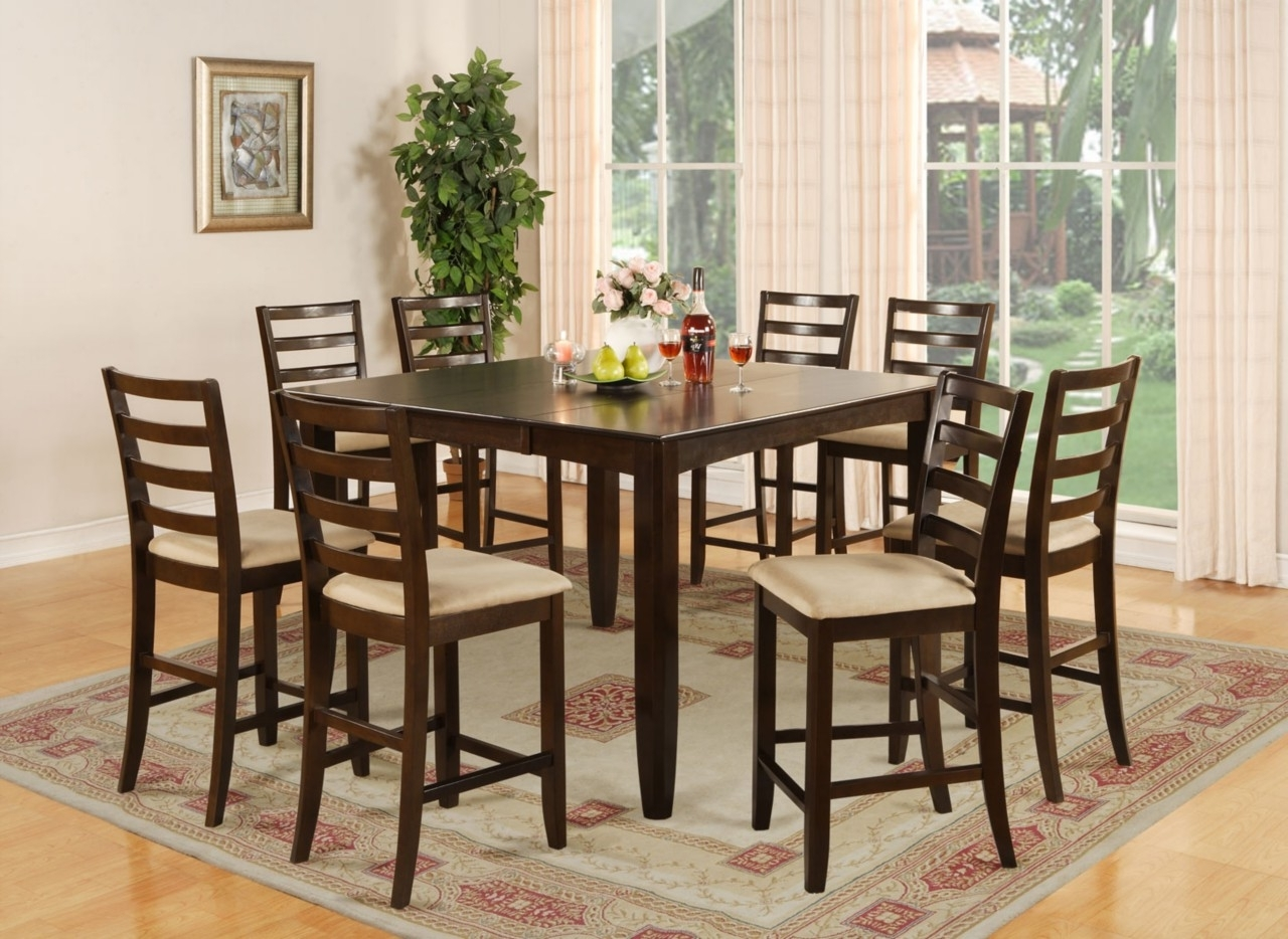 9 Pc Square Counter Height Dining Room Table 8 Chairs Cherry Wood With Regard To Preferred 8 Seat Dining Tables (View 19 of 25)