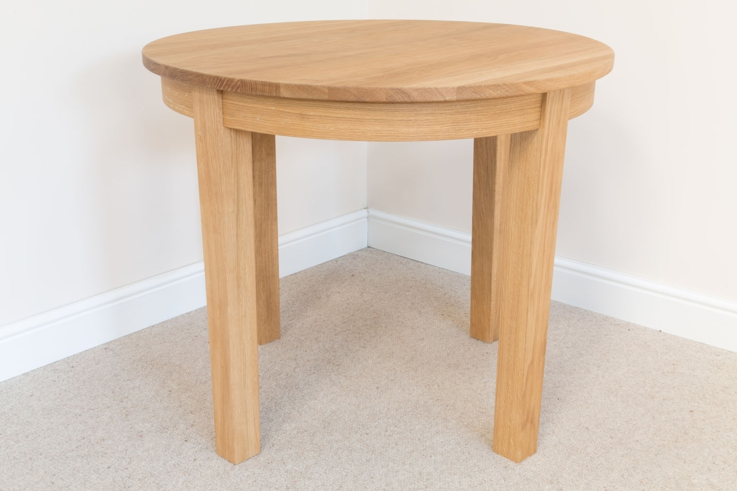 90Cm Round Baltic Premium Solid Oak Table From Top Furniture Ltd in Preferred Circular Oak Dining Tables