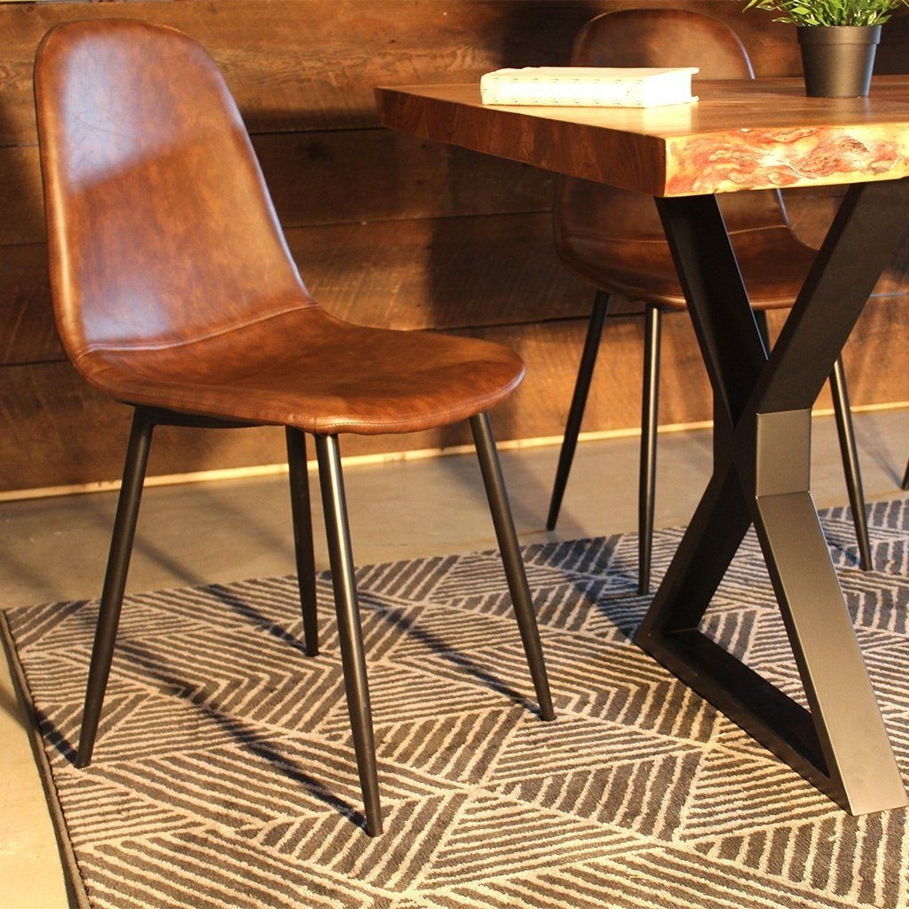 99+ Brown Leather Dining Chairs With Chrome Legs – Best Furniture For Recent Brown Leather Dining Chairs (Gallery 3 of 25)