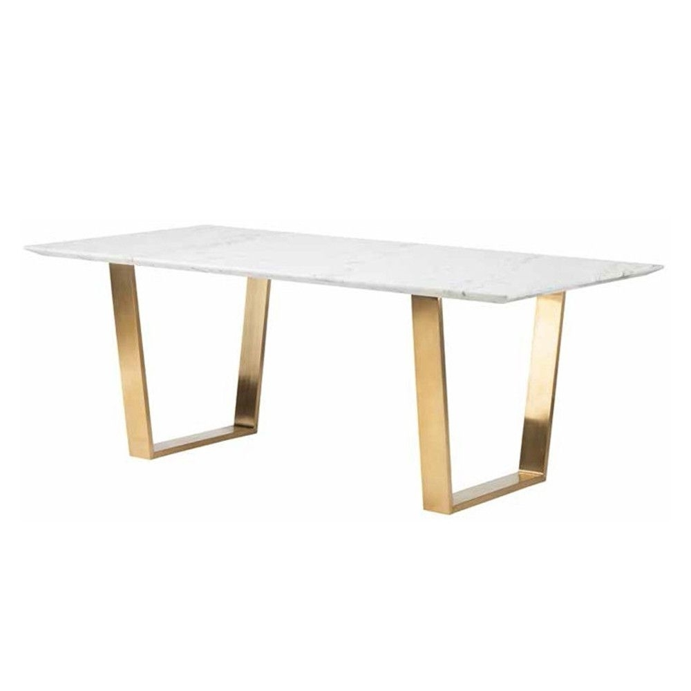A Simple Yet Exquisite White Marble Dining Table With Brushed Gold Inside Most Recently Released Brushed Steel Dining Tables (Gallery 8 of 25)