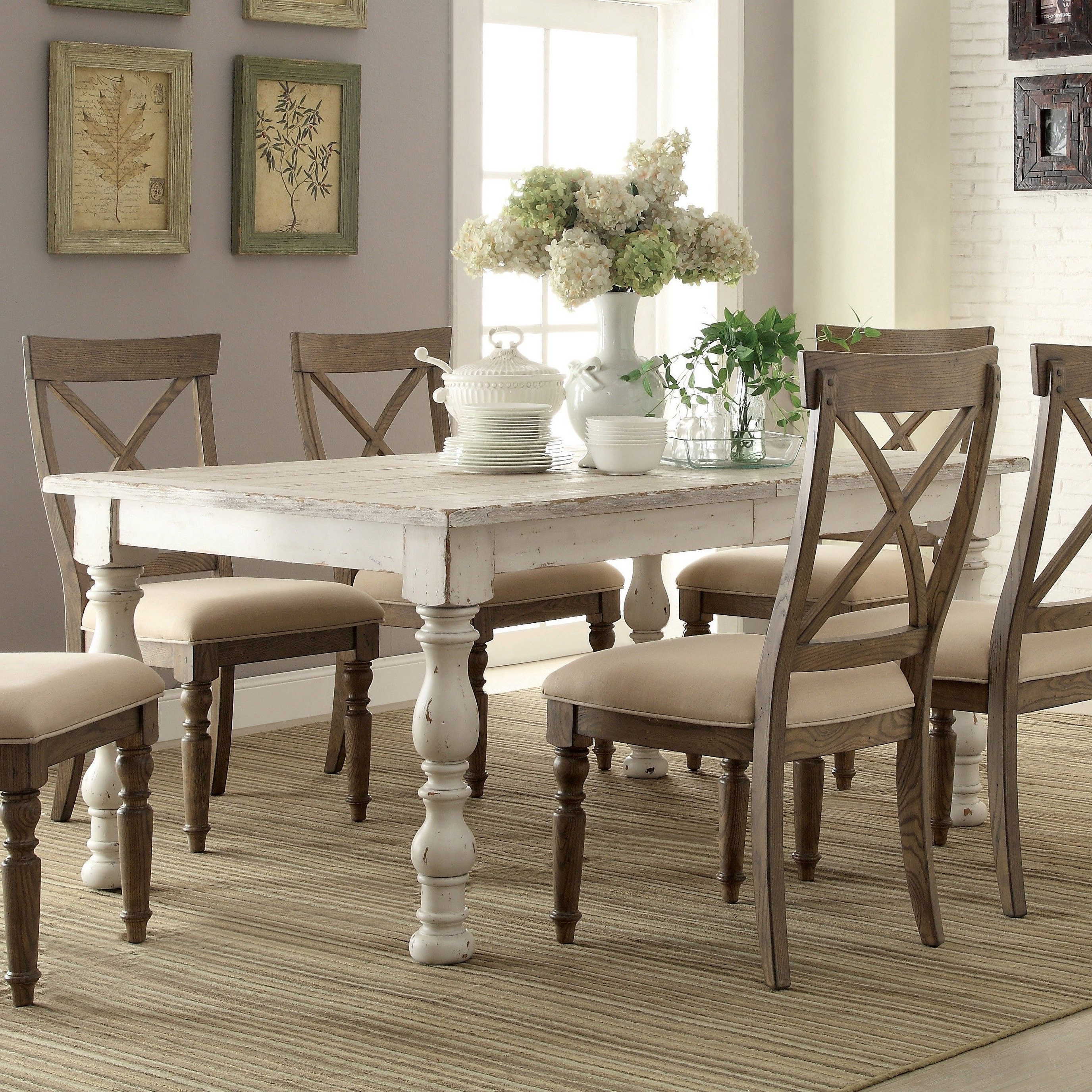 Aberdeen Wood Rectangular Dining Table Only In Weathered Worn White With Favorite Laurent 7 Piece Rectangle Dining Sets With Wood Chairs (View 5 of 25)