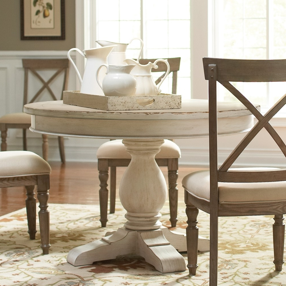 Aberdeen Wood Round Dining Table Only In Weathered Worn White Regarding 2017 White Circle Dining Tables (Gallery 7 of 25)