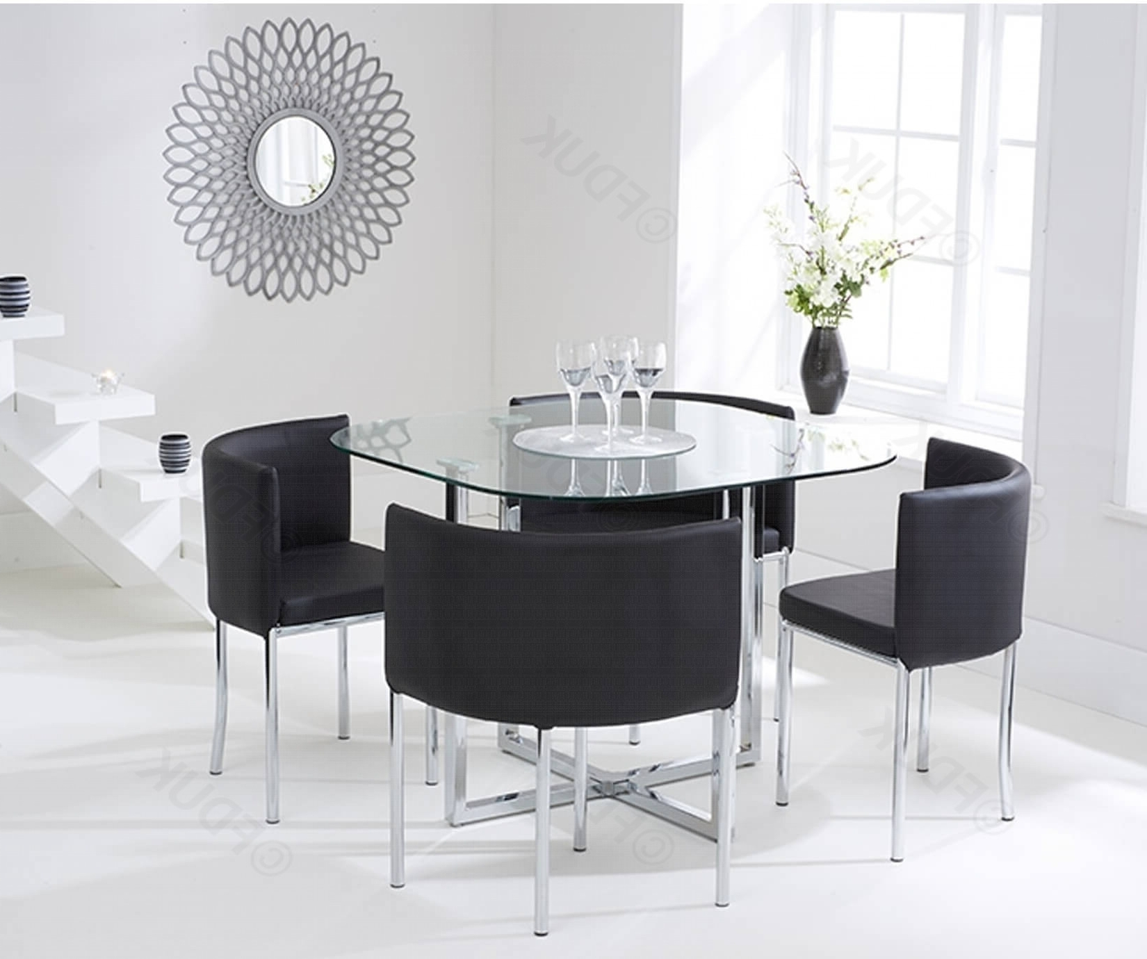 Abingdon Glass Dining Table With 4 Black (View 8 of 25)