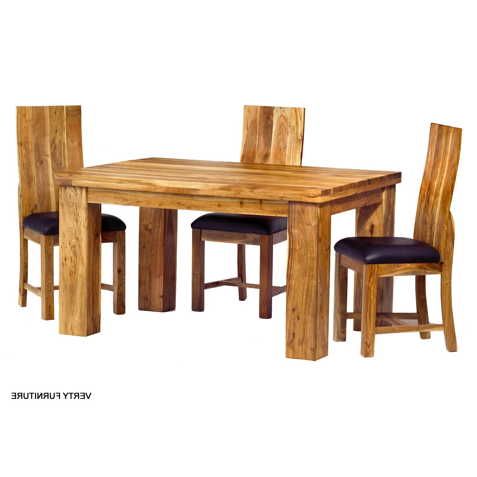Acacia Dining Table – Small With 4 Chairs – Verty Indian Furniture Within Well Known Indian Wood Dining Tables (Gallery 7 of 25)
