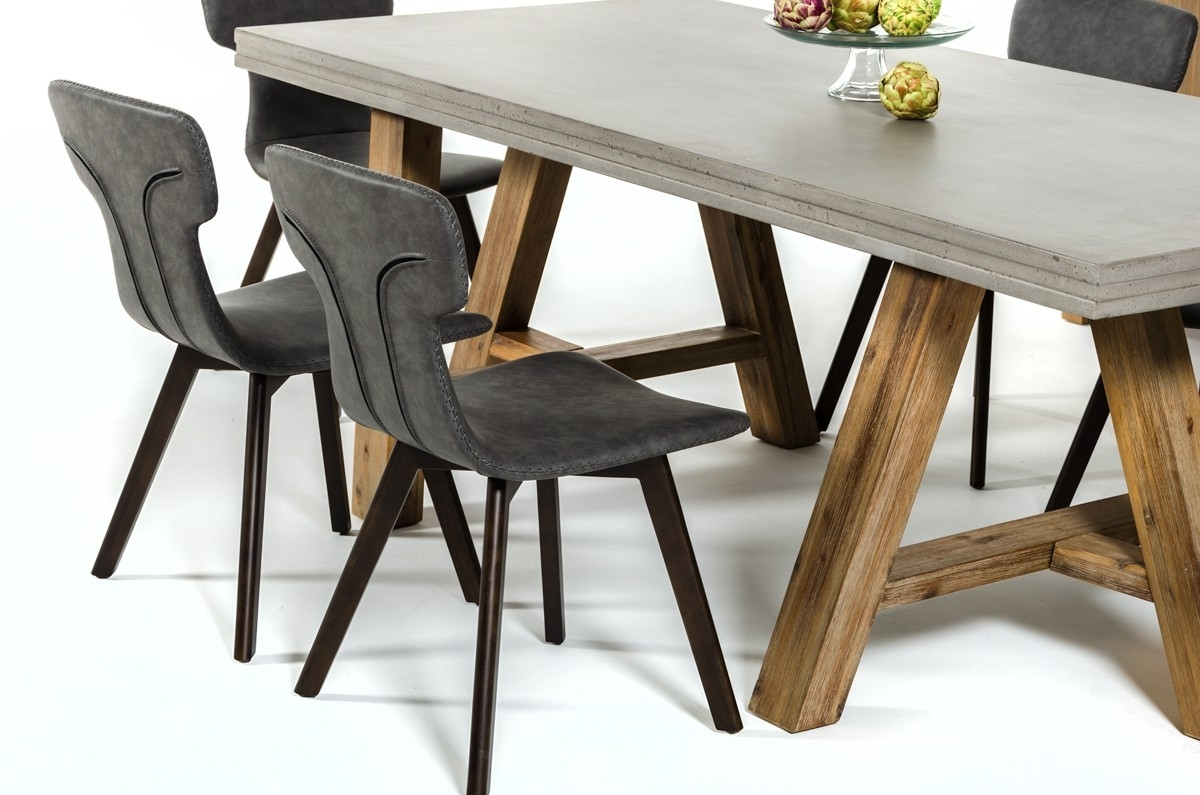 Acacia Dining Tables In Newest Modrest Civic Modern Concrete & Acacia Dining Table – L'angolo (Gallery 25 of 25)
