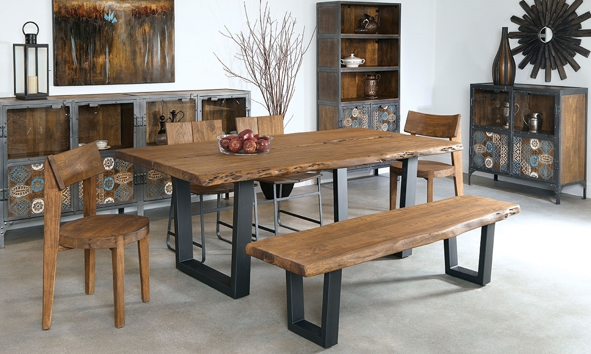 Acacia Dining Tables In Trendy Live Edge Dining Table In Acacia Wood Iron Rustic Large Plan  (View 9 of 25)