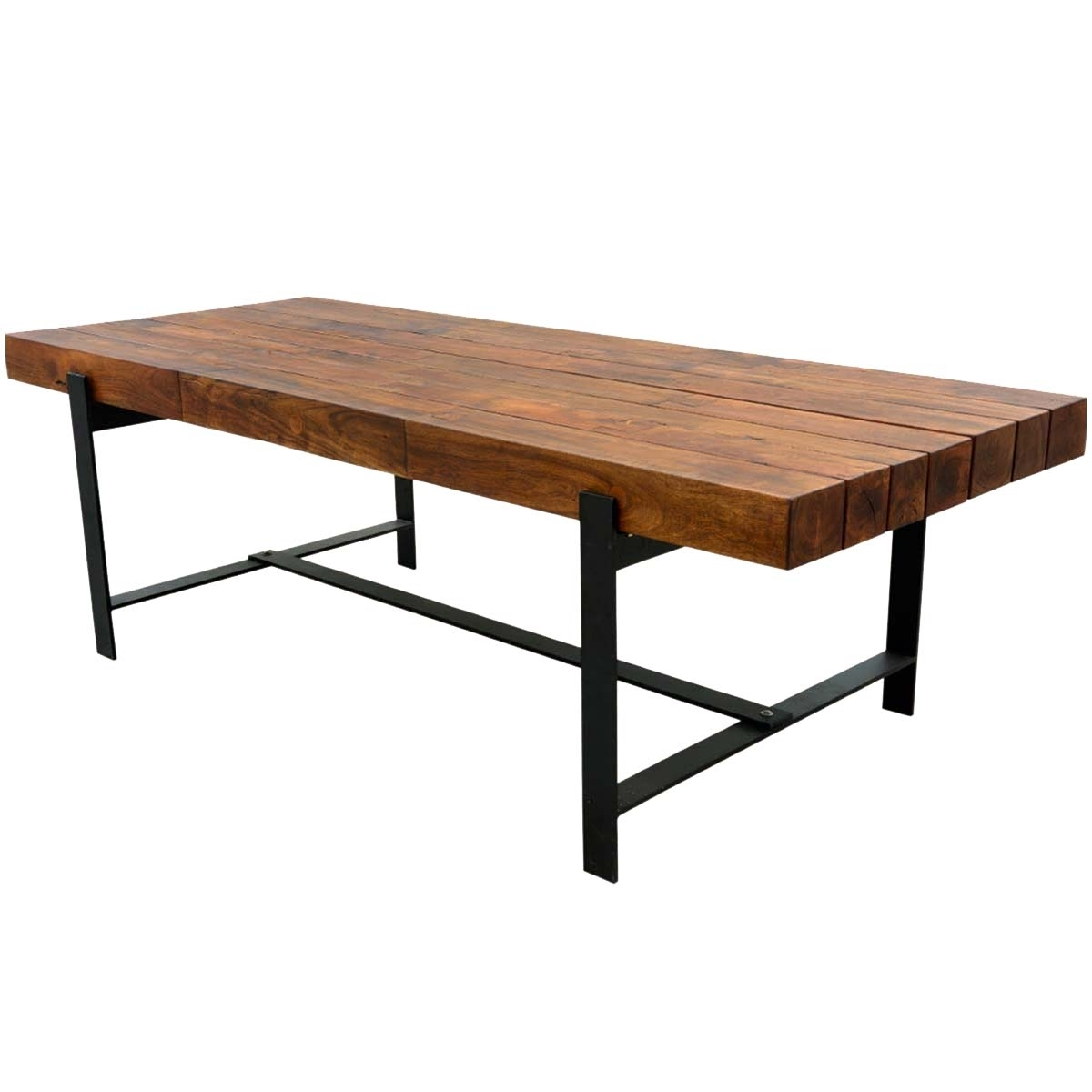 "Acacia Dining Tables In Well Known Industrial Iron & Acacia Wood 94"" Large Rustic Dining Table (Gallery 6 of 25)"