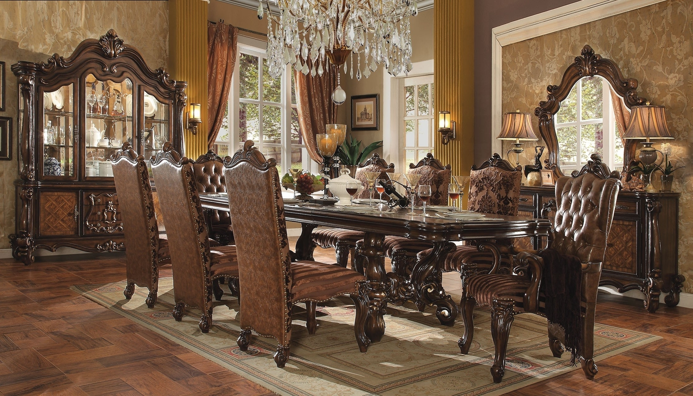 Acme Acme Versailles 9 Piece Pedestal Dining Set In Cherry Oak For Best And Newest Craftsman 9 Piece Extension Dining Sets (View 13 of 25)