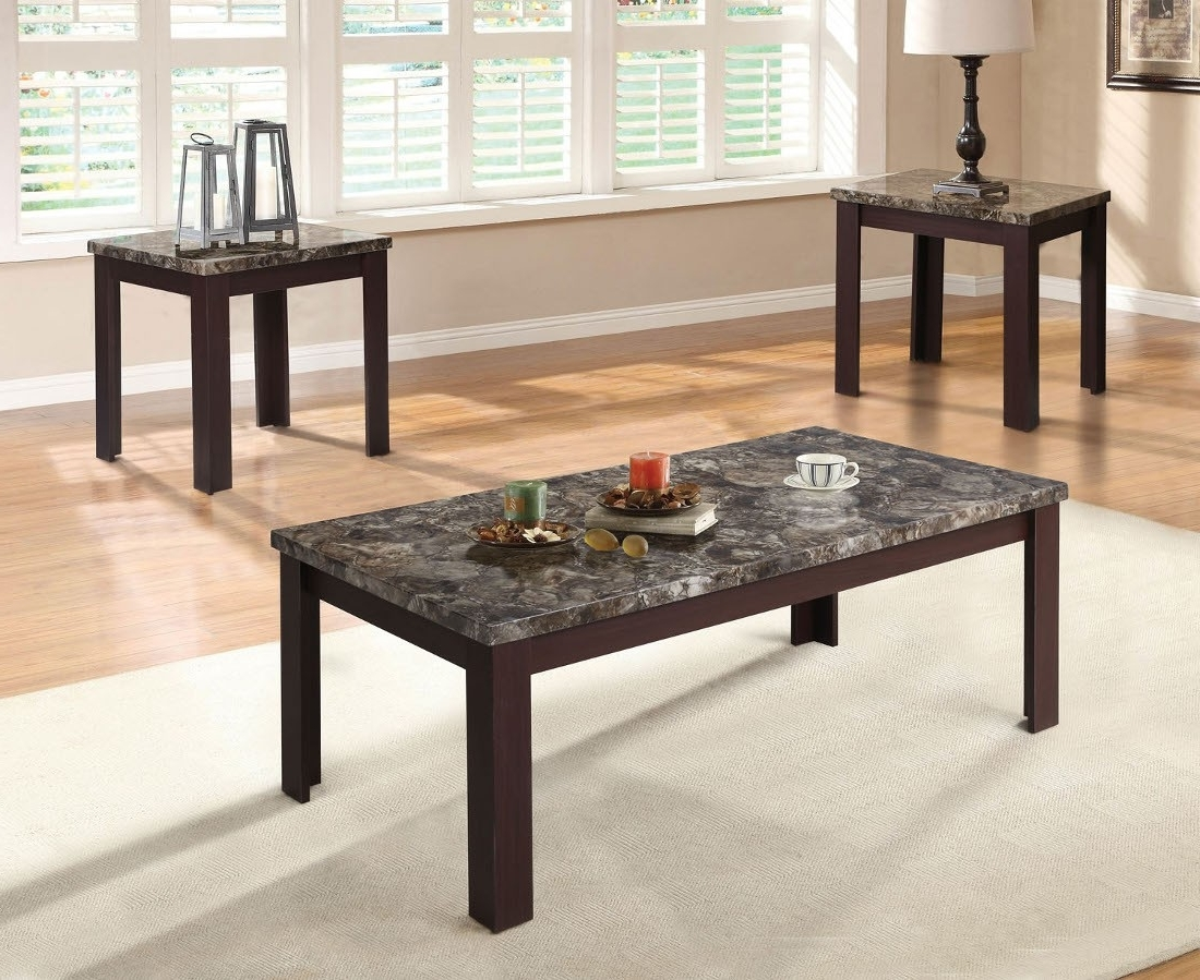 Acme Furniture Carly 3Pc Coffee/end Table Set In Faux Marble Top Within Preferred Carly Rectangle Dining Tables (View 18 of 25)