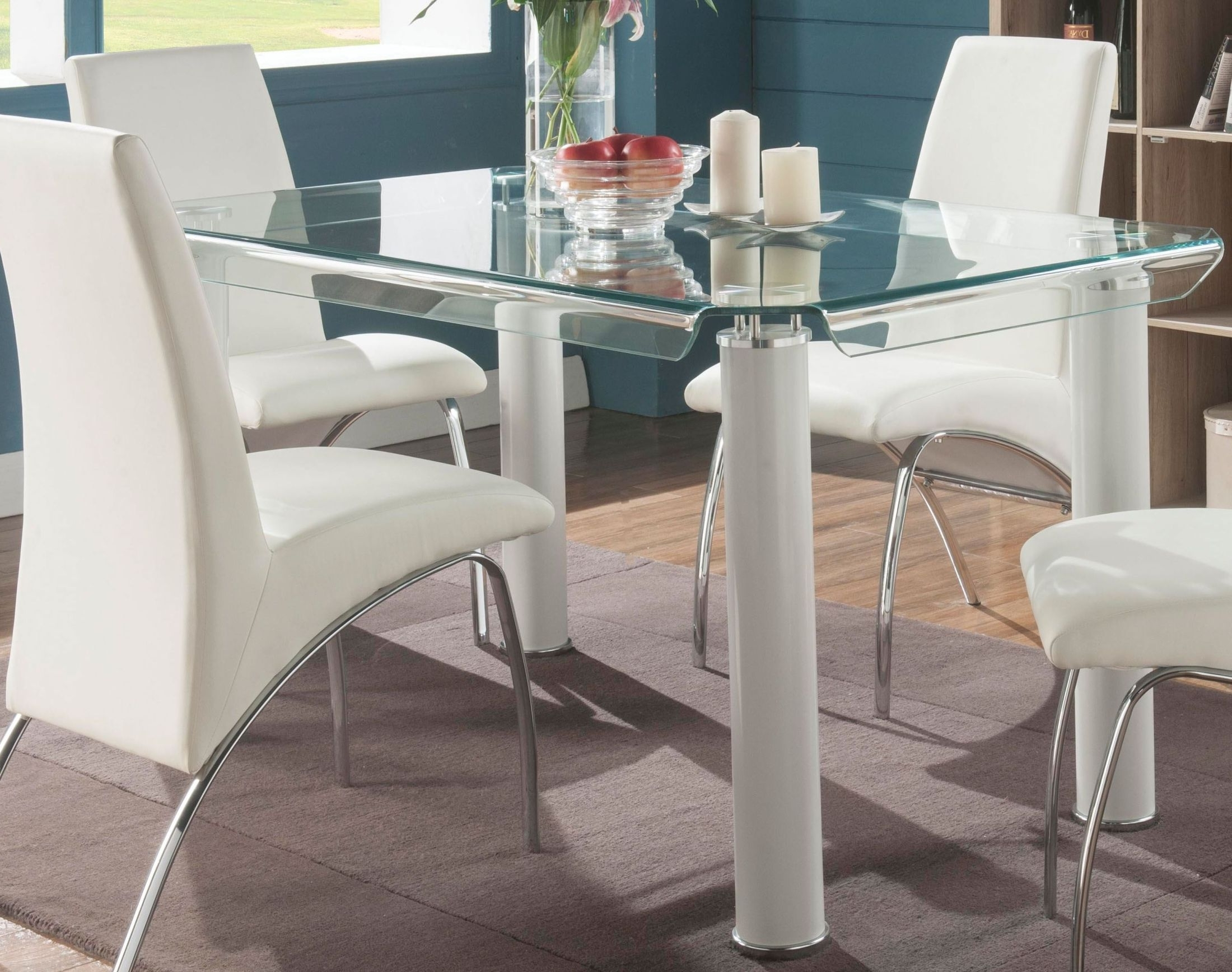 Acme Gordie White And Clear Glass Dining Table – Gordie Collection In Most Current Glass Dining Tables White Chairs (View 3 of 25)