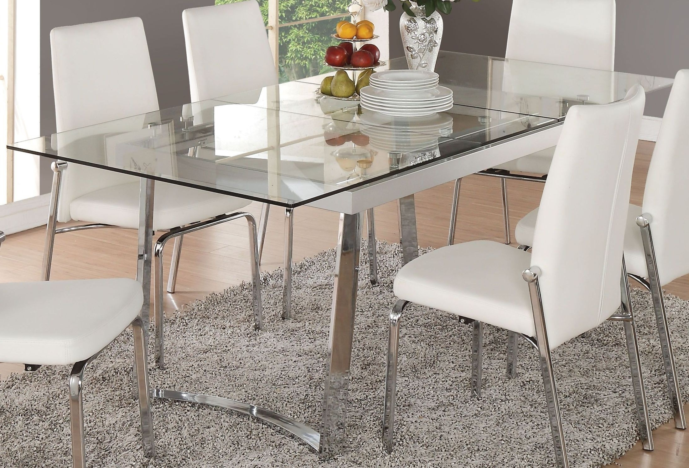Acme Osias Chrome And Clear Glass Extendable Dining Table – Osias Intended For Widely Used Glass Folding Dining Tables (Gallery 21 of 25)