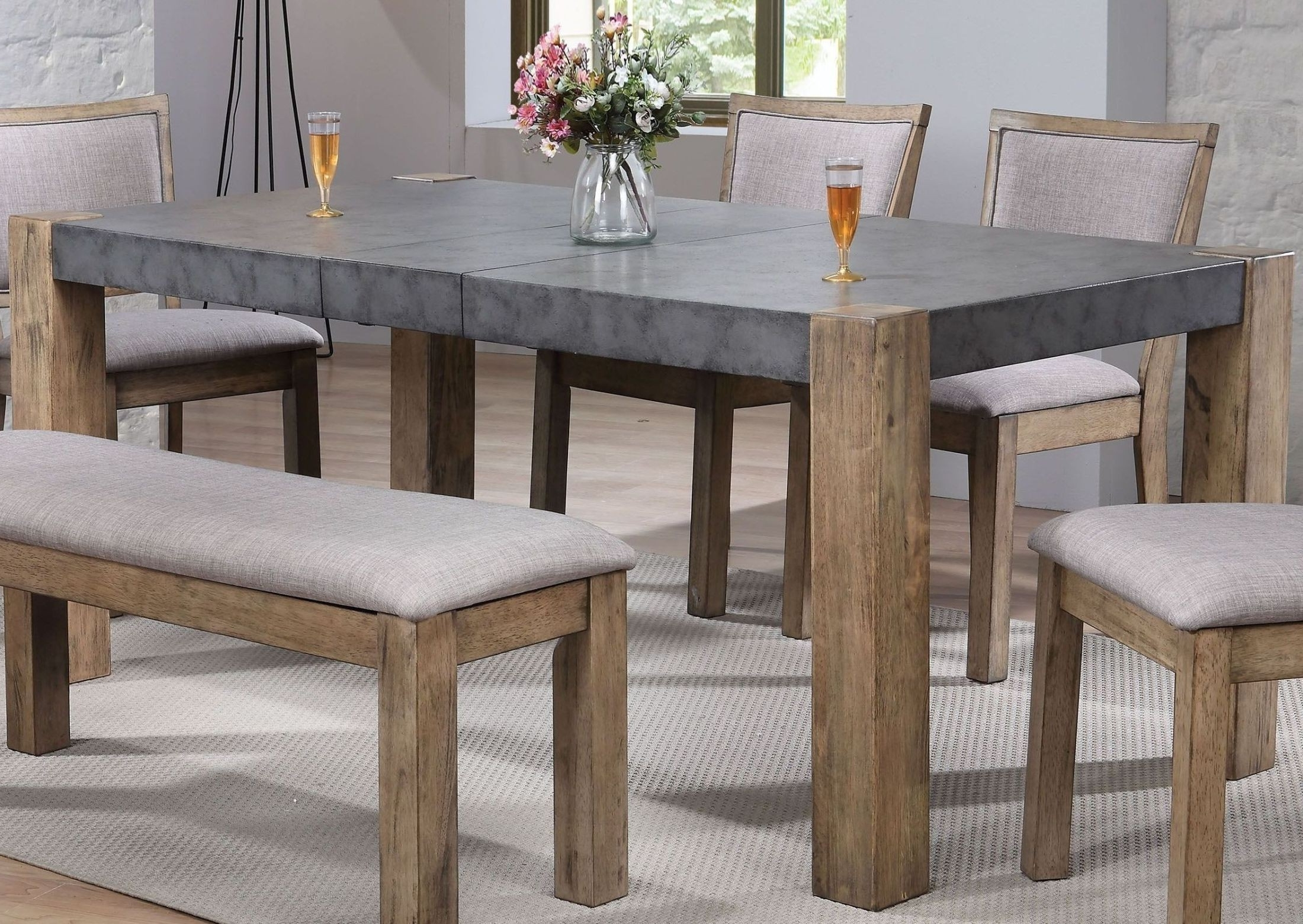 Acme Paulina Ii Dark Gray And Rustic Oak Dining Room Set – Paulina In Trendy Rustic Oak Dining Tables (View 22 of 25)