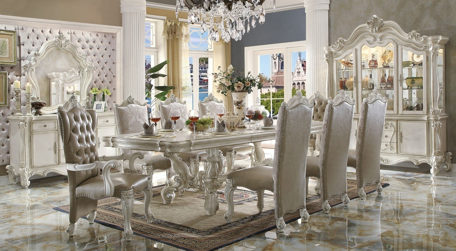 Acme Versailles 9 Piece Pedestal Dining Set In Bone Whitedining Intended For Popular White Dining Tables Sets (View 2 of 25)