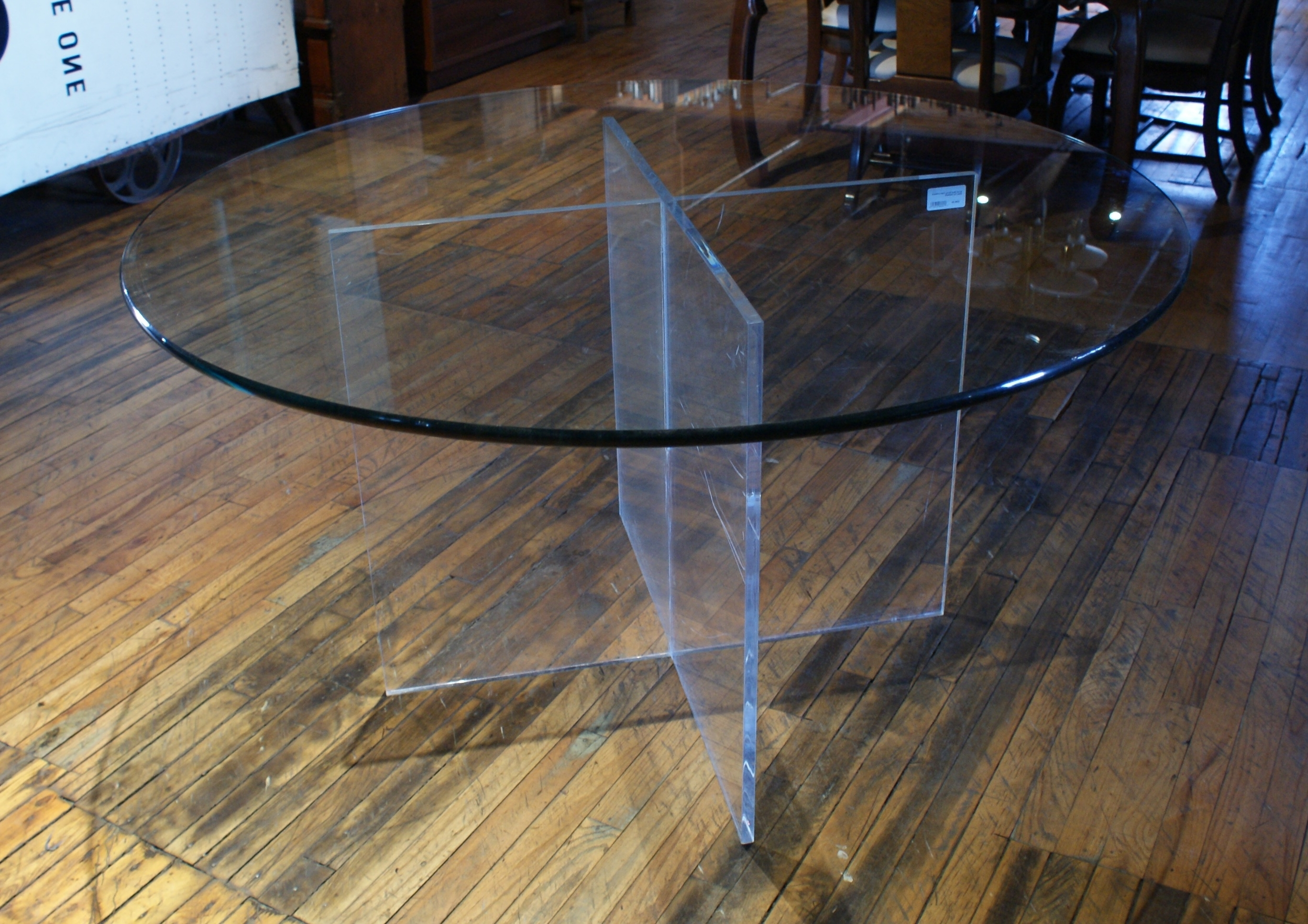 Acrylic Base Dining Table W Round Glass Top – Salvage One Regarding Newest Round Acrylic Dining Tables (Gallery 25 of 25)