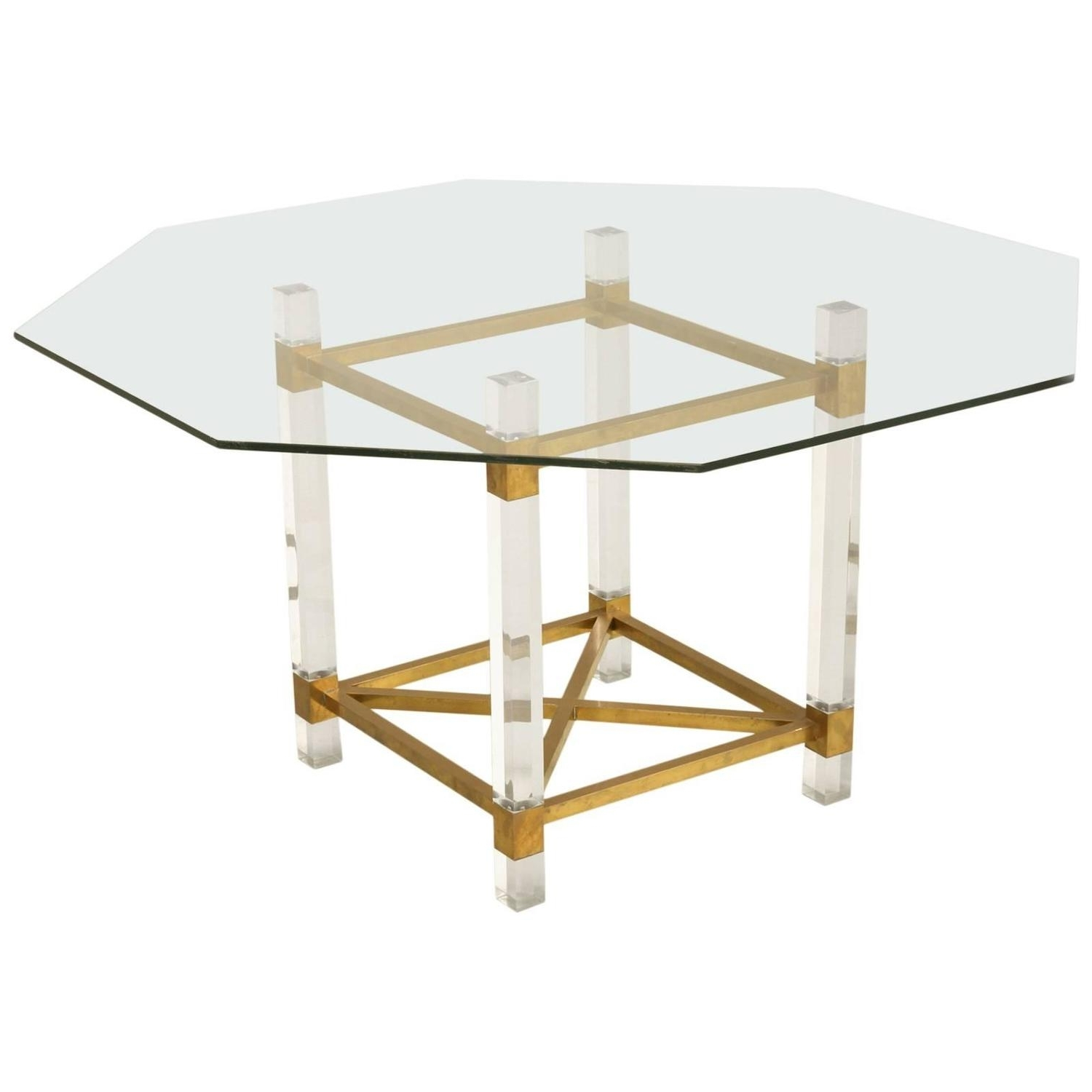 Acrylic Dining Tables In Favorite French Acrylic And Brass Dining Table For Sale At 1Stdibs (View 4 of 25)
