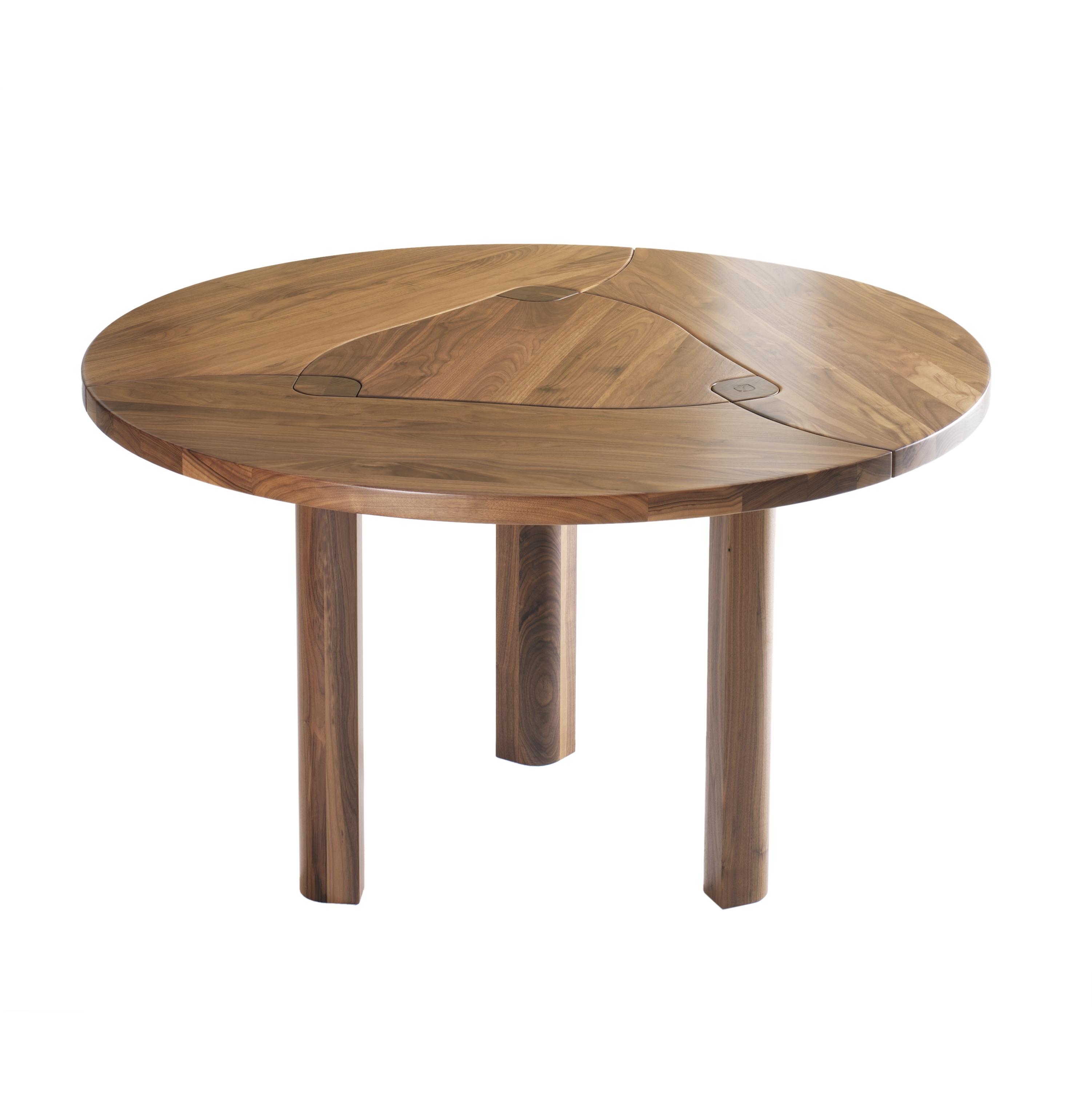 Acrylic Round Dining Tables Pertaining To Current Round Brown Wooden Dining Table Having Three Cylinder Brown Wooden (View 16 of 25)