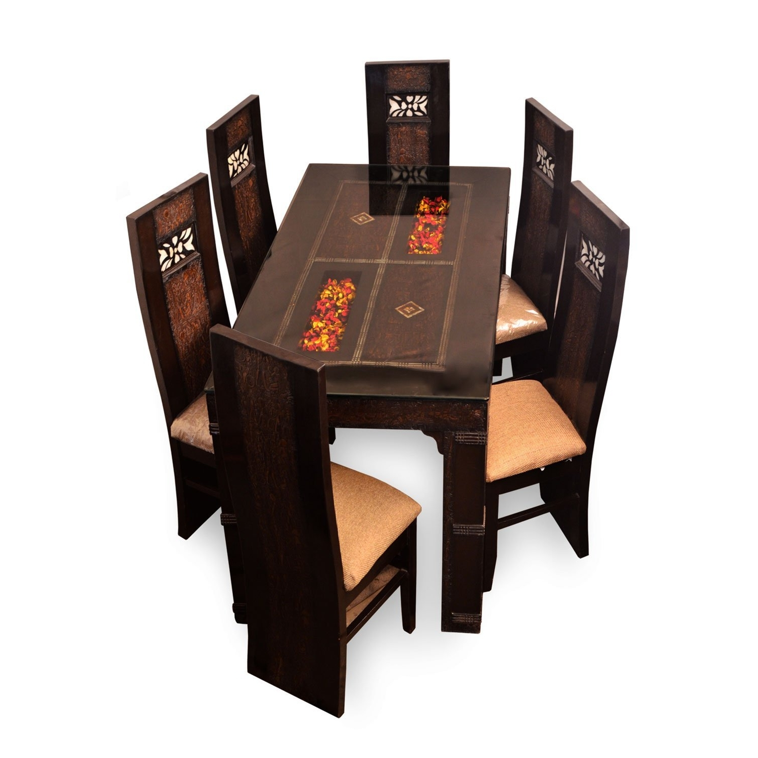 Affordable Classic 6 Seater Dining Table Set, Glass Dinner Table Within Favorite 6 Seater Glass Dining Table Sets (View 11 of 25)