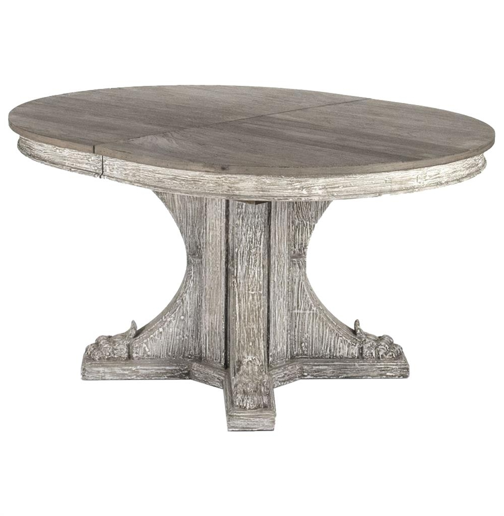 Agnes French Country Rustic Oval Extendable Dining Table (View 7 of 25)