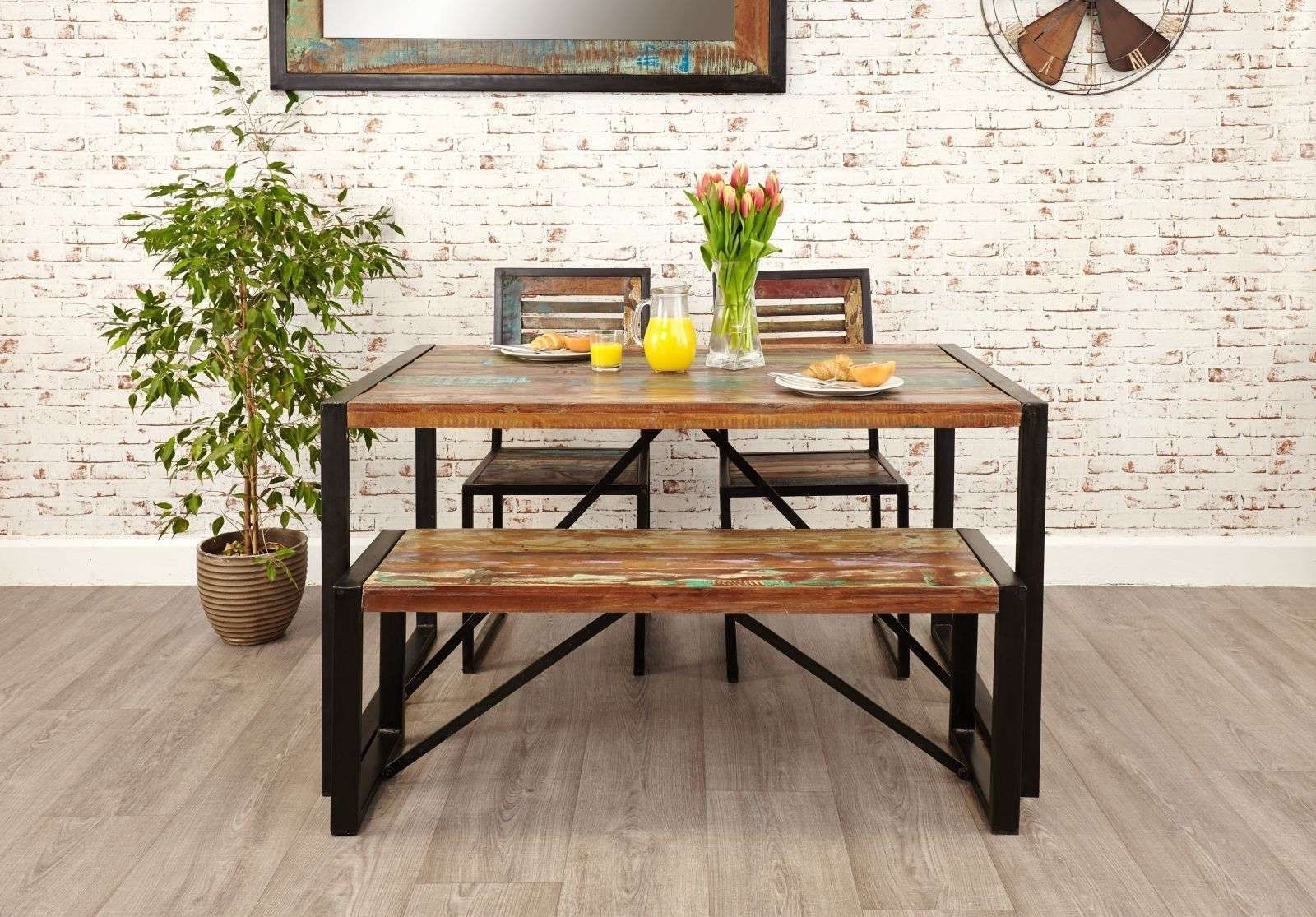 Agra Reclaimed Wood Furniture Dining Table, Two Chairs And Bench Set Pertaining To Well Known Small Dining Tables And Bench Sets (View 4 of 25)