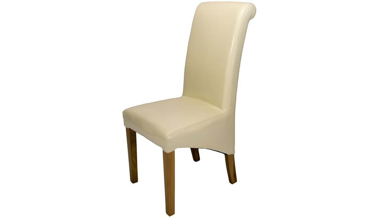 Ahf Furniture In Cream Faux Leather Dining Chairs (Gallery 17 of 25)