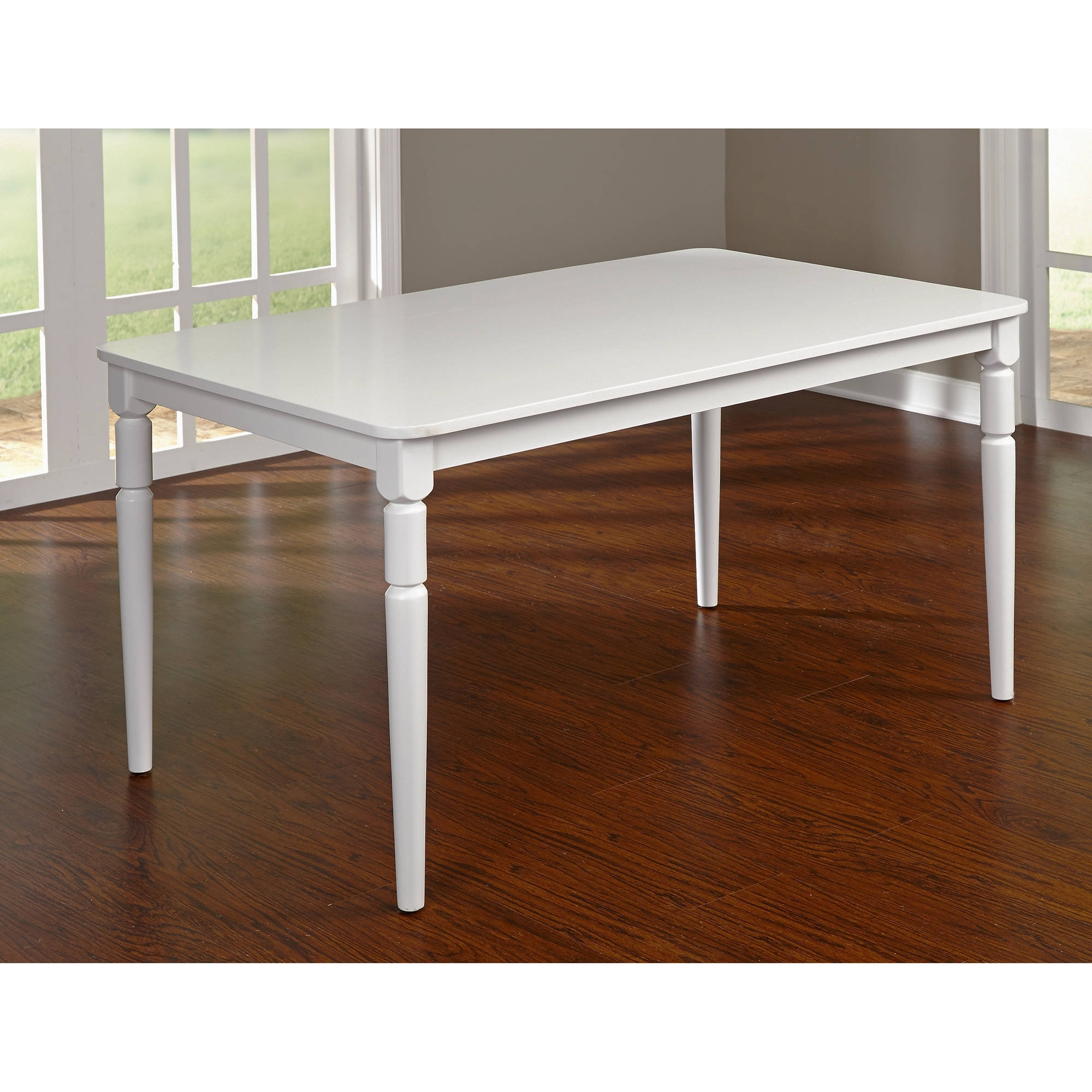 Albury Turned Legs Table, White – Walmart Pertaining To Current Dining Tables With White Legs (View 2 of 25)