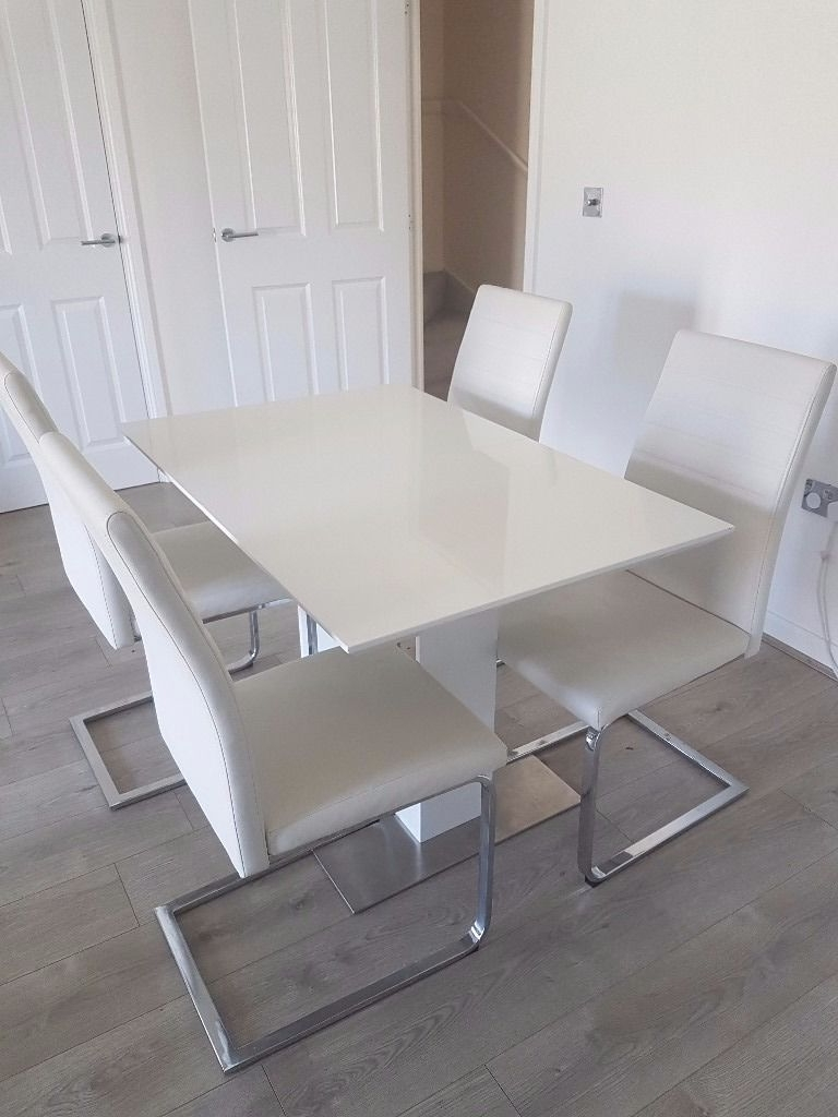 Alcora Dining Chairs In Well Liked White Gloss Extending Dining Table With 4 Alcora Chairs (View 3 of 25)