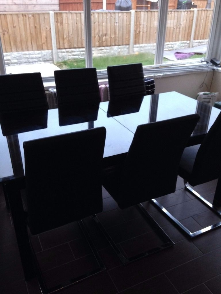 Alcora Dining Chairs Within Latest Noir Black Extending Glass Dining Table + 6 Alcora Chairs (Sold As A (View 7 of 25)