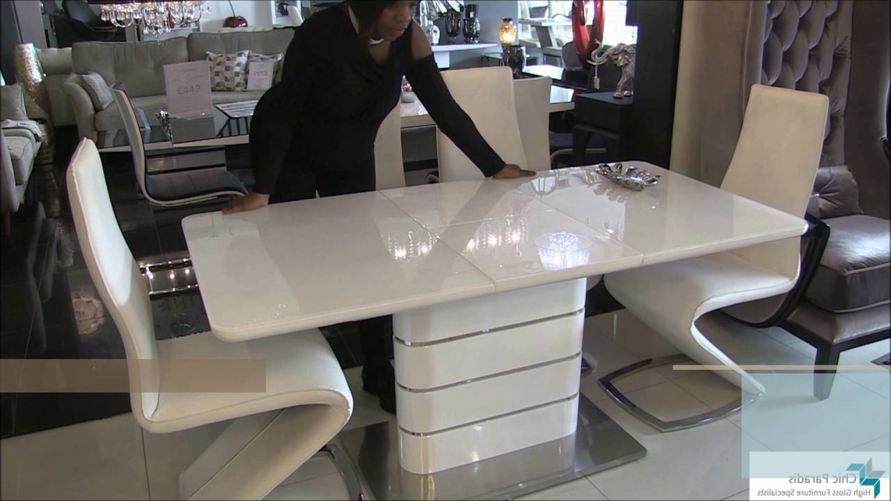 Alice Extending High Gloss White Dining Table – Youtube In Newest White Gloss Extending Dining Tables (View 23 of 25)