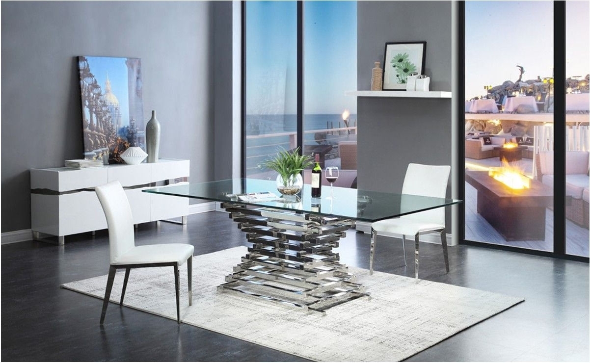 Amazing Crawford Modern Rectangular Glass Dining Table Inside Well Known Contemporary Dining Furniture (Gallery 14 of 25)