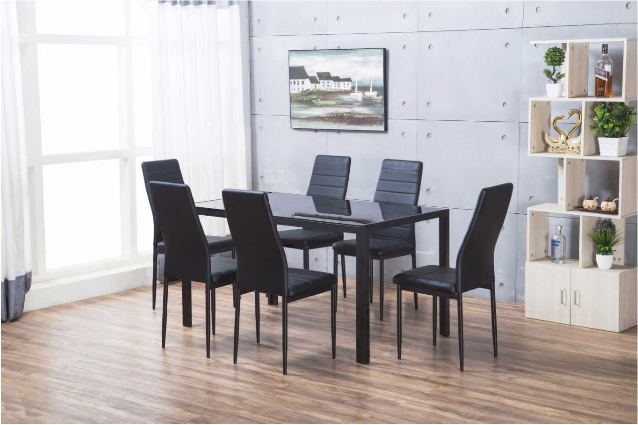 Amazing Designer Rectangle Black Glass Dining Table 6 Chairs Set In Most Recent Black Glass Dining Tables 6 Chairs (View 11 of 25)