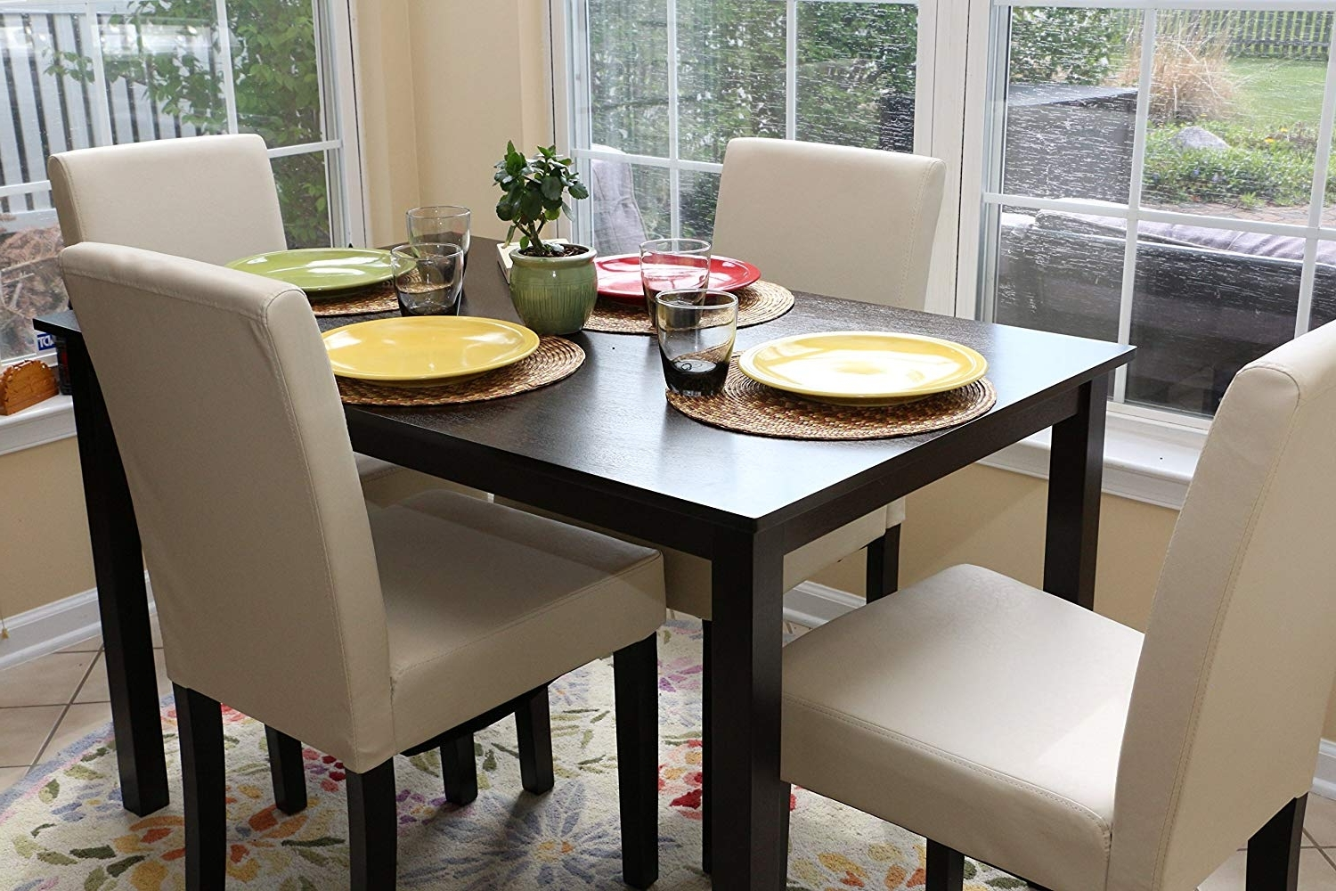 Amazon – 5 Pc Ivory Leather 4 Person Table And Chairs Ivory With Newest Ivory Leather Dining Chairs (View 24 of 25)