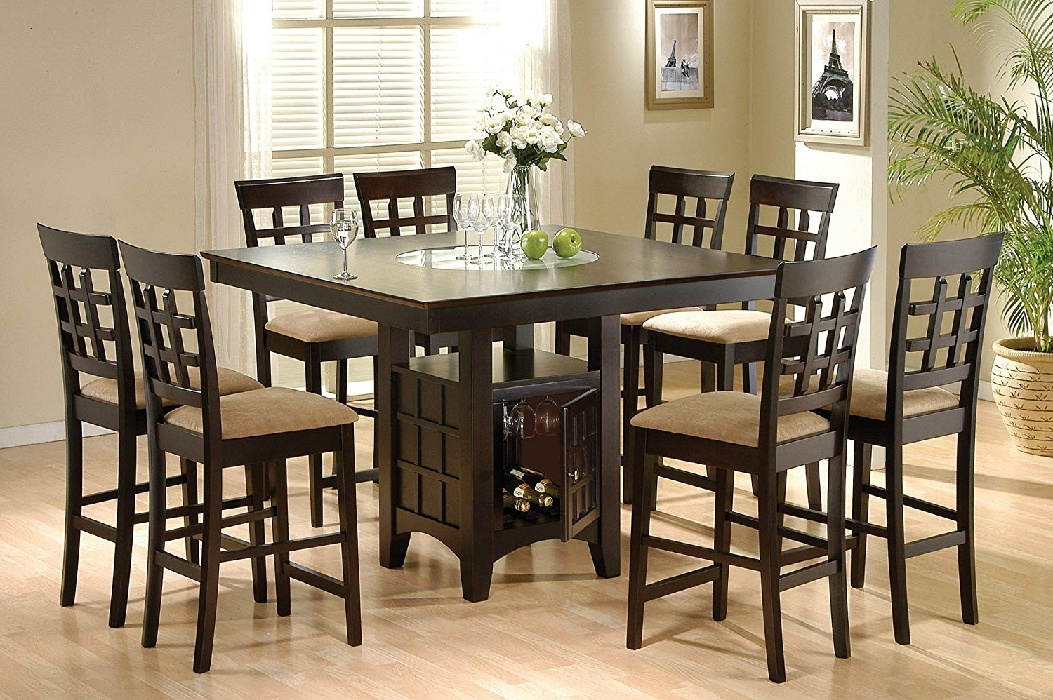 Amazon – Coaster Home Furnishings 9 Piece Counter Height Storage Regarding Fashionable Ina Matte Black 60 Inch Counter Tables With Frosted Glass (View 19 of 25)