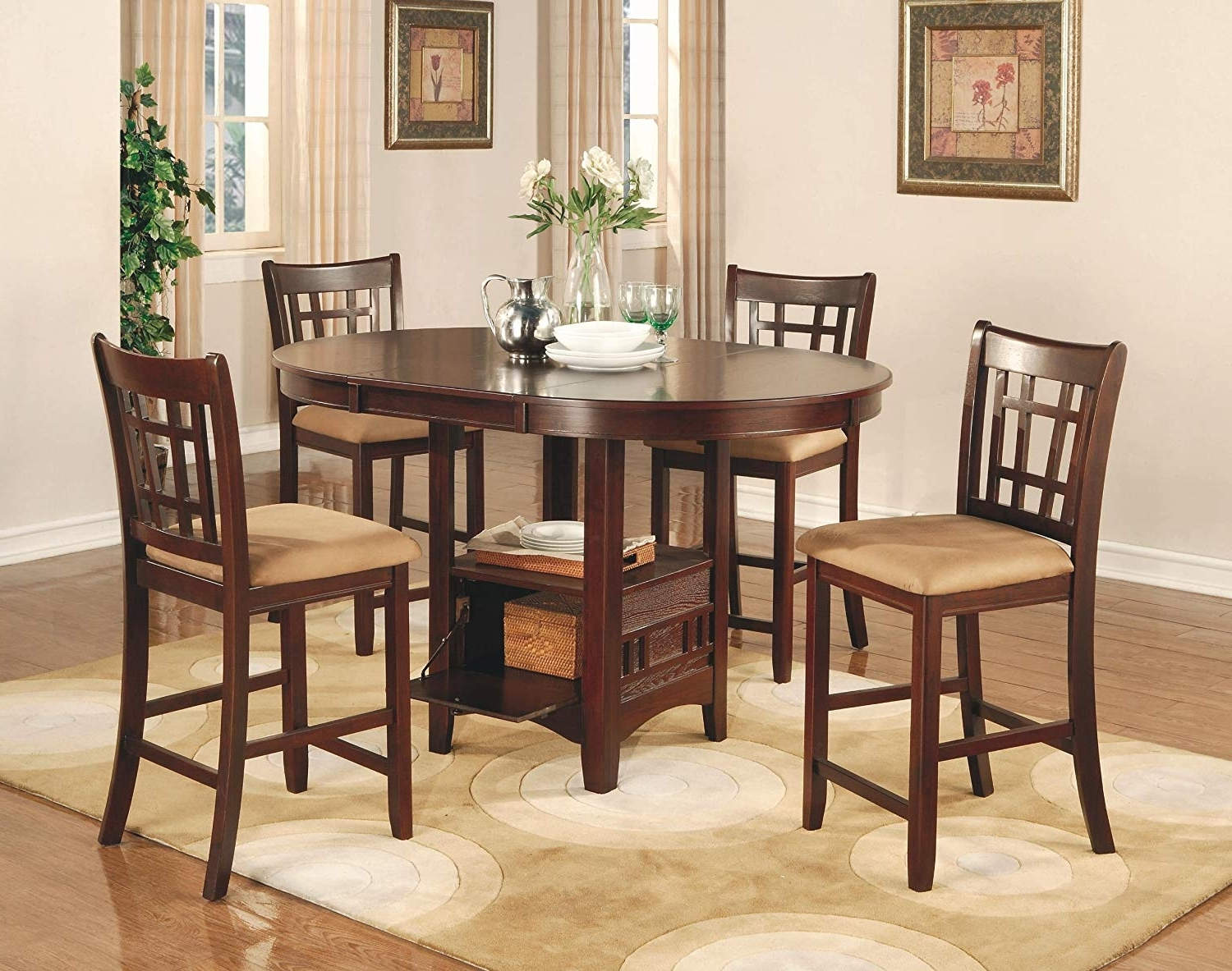 Amazon – Coaster Lavon 5 Piece Counter Table And Chair Set In Throughout Well Known Market 7 Piece Counter Sets (Gallery 2 of 25)