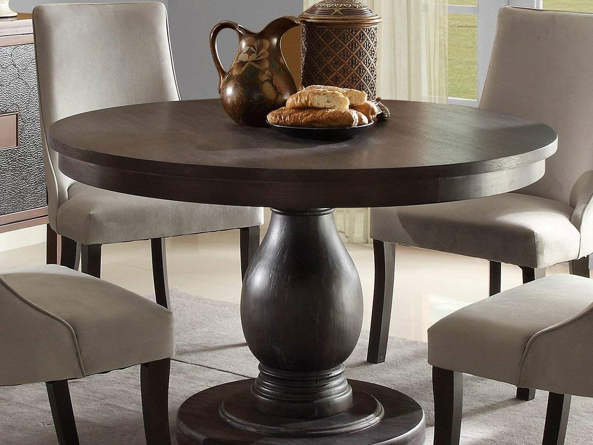 Amazon: Dandelion Dining Tablehome Elegance In Rustic Brown Regarding Well Known Large White Round Dining Tables (View 3 of 25)