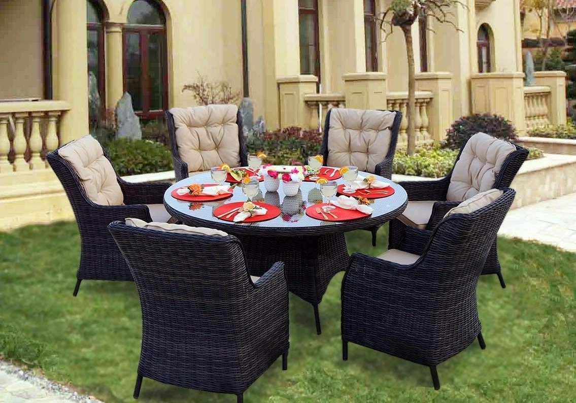 Amazon: Darlee 7 Piece Valencia Wicker Round Dining Set With Regarding Most Up To Date Valencia 60 Inch Round Dining Tables (Gallery 17 of 25)