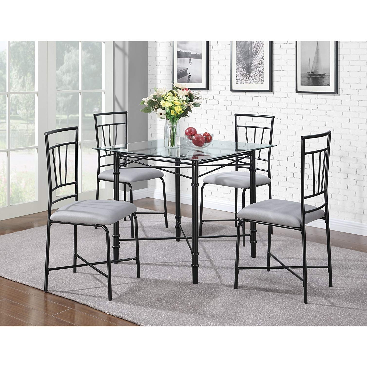 Amazon – Dorel Living 5 Piece Glass Top Metal Dining Set – Table Within Well Known Delfina 7 Piece Dining Sets (View 6 of 25)