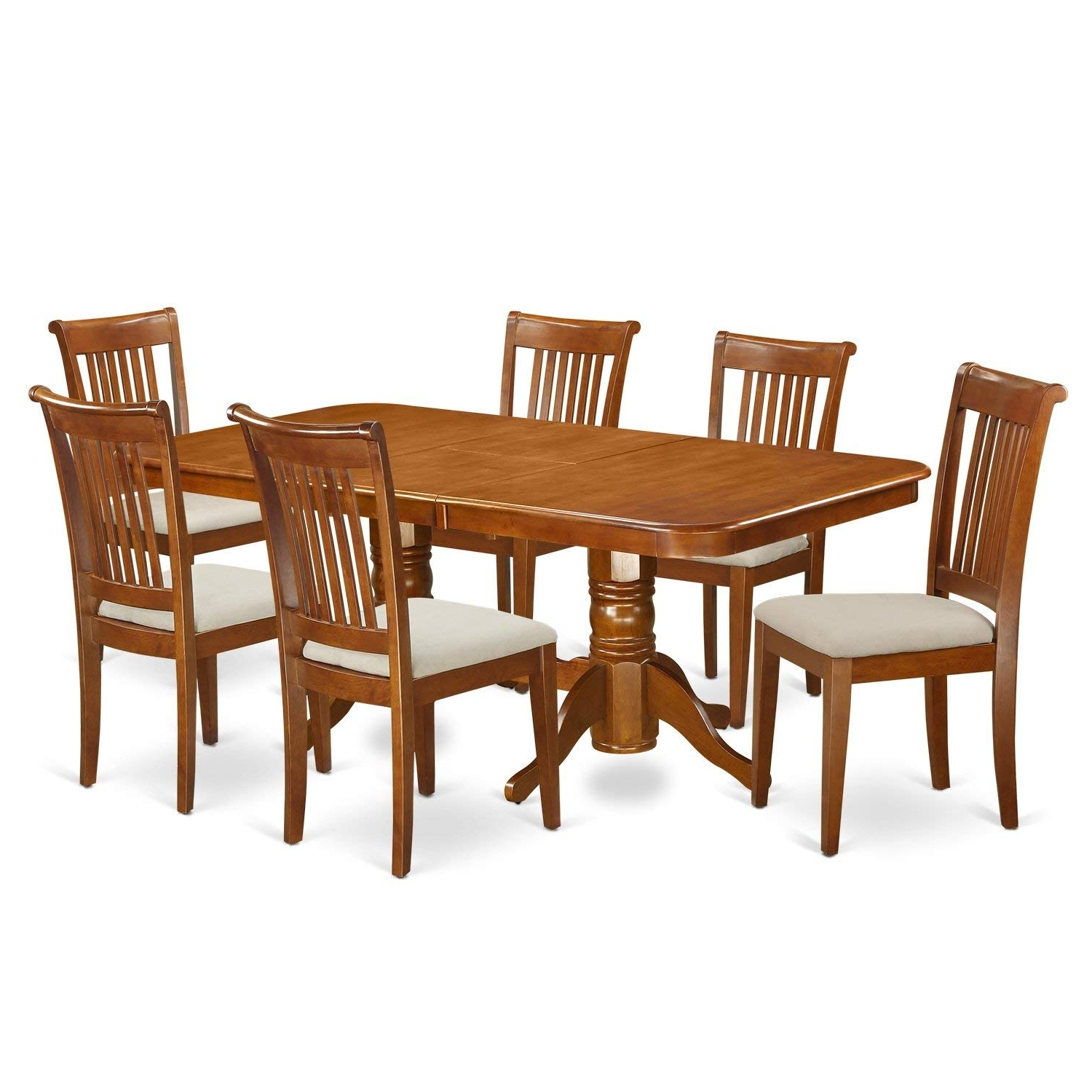 Amazon: East West Furniture Napo7 Sbr C 7 Piece Dining Table Set For Recent Portland 78 Inch Dining Tables (View 2 of 25)