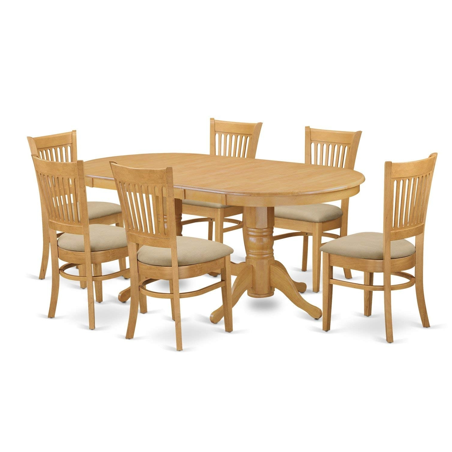 Amazon: East West Furniture Vanc7 Oak C 7 Piece Dining Table Set With Current Craftsman 7 Piece Rectangle Extension Dining Sets With Side Chairs (View 3 of 25)