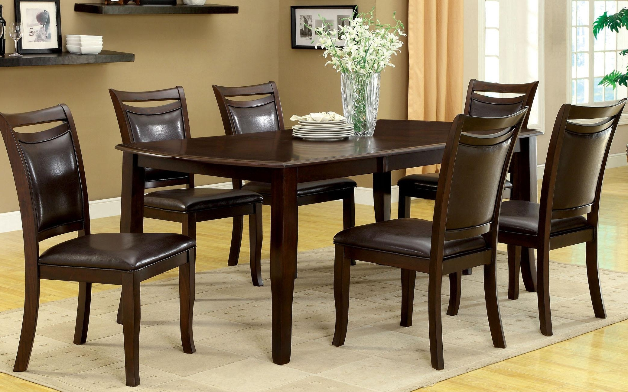 Amazon – Furniture Of America Carlson 7 Piece Dining Table Set Throughout Most Popular Dark Wood Dining Room Furniture (Gallery 6 of 25)