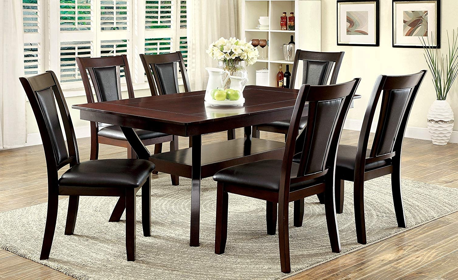Amazon – Furniture Of America Dalcroze 7 Piece Modern Dining Set Pertaining To 2018 Amos 7 Piece Extension Dining Sets (View 14 of 25)