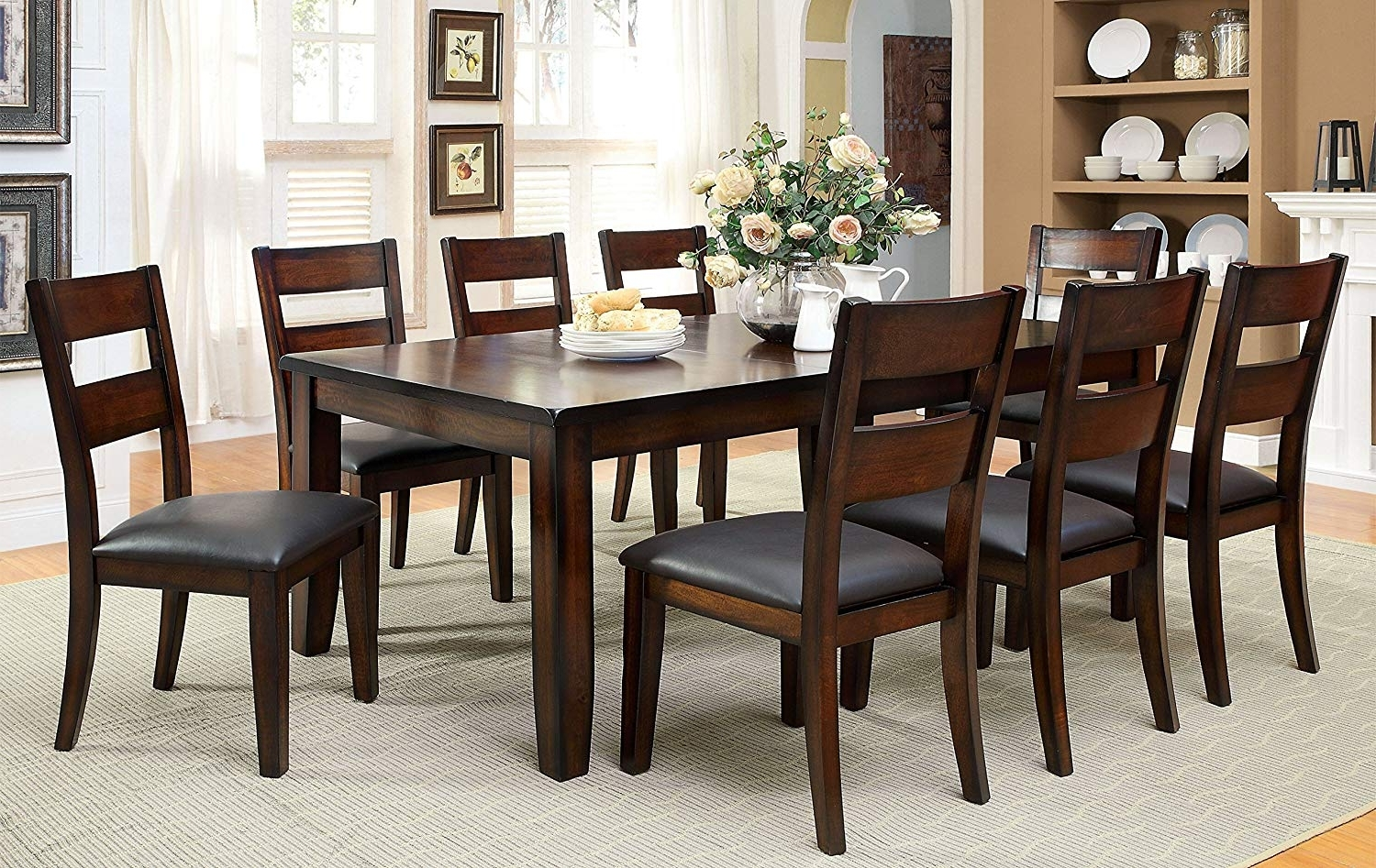 Amazon – Furniture Of America Dallas 9Piece Transitional Dining In Most Popular Dark Wood Dining Tables And Chairs (View 6 of 25)