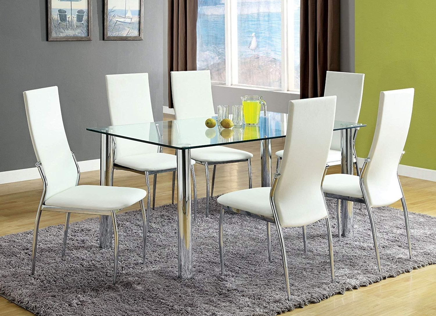 Amazon: Furniture Of America Novae 7 Piece Dining Set With White For Latest Glass Dining Tables White Chairs (View 4 of 25)