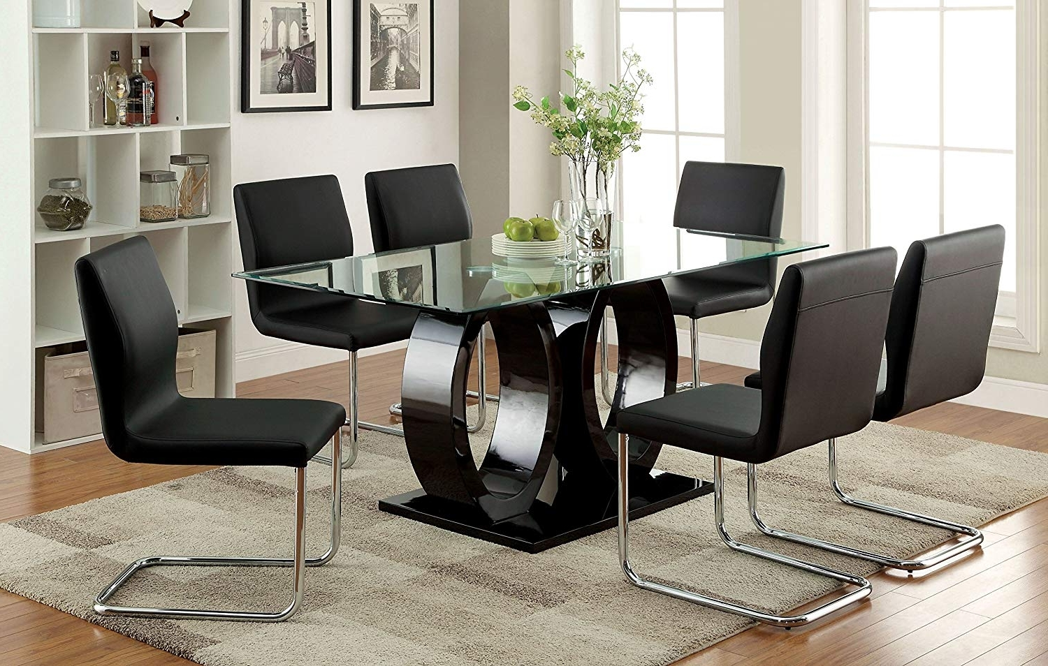 Amazon – Furniture Of America Quezon 7 Piece Glass Top Double Within Widely Used Black Glass Dining Tables (View 3 of 25)