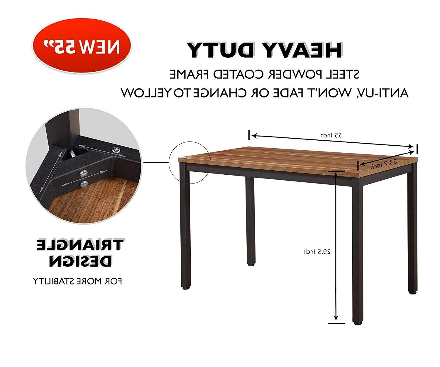 Amazon : G Pack Pro Home & Office Computer Desk 55 Inch Pertaining To Widely Used Carly Triangle Tables (View 20 of 25)