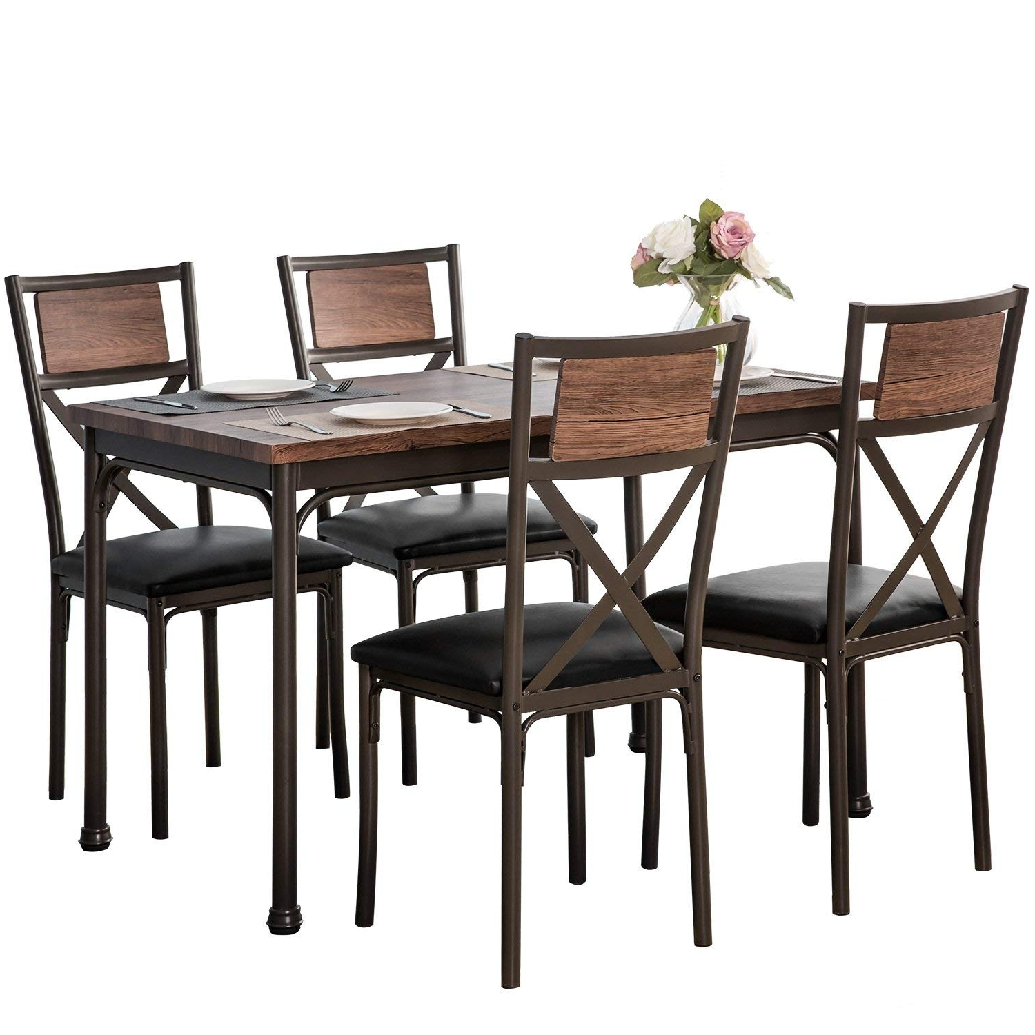 Amazon – Harper & Bright Designs 5 Piece Dining Set Kitchen Regarding Most Popular Harper 5 Piece Counter Sets (Gallery 5 of 25)