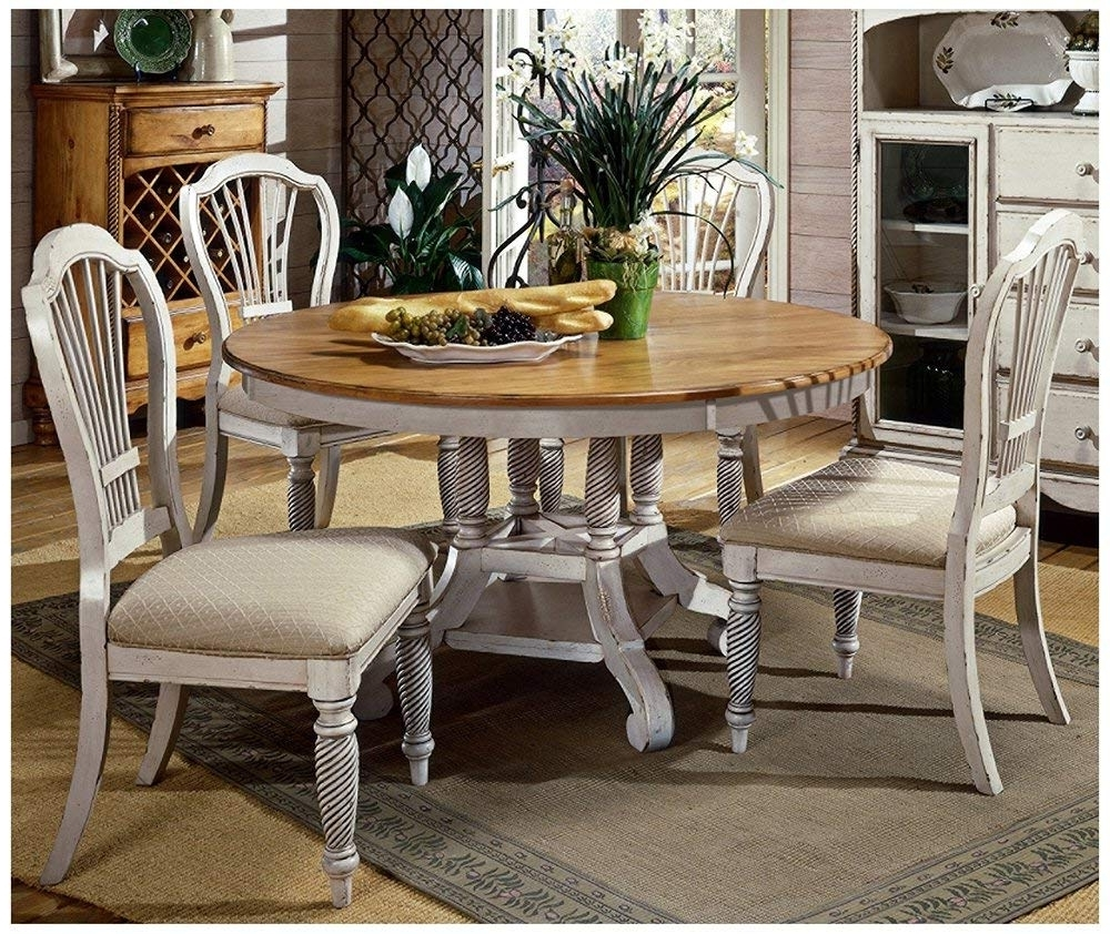 Amazon: Hillsdale Wilshire 5 Piece Round Dining Table Set In With Well Known White Dining Tables Sets (View 3 of 25)