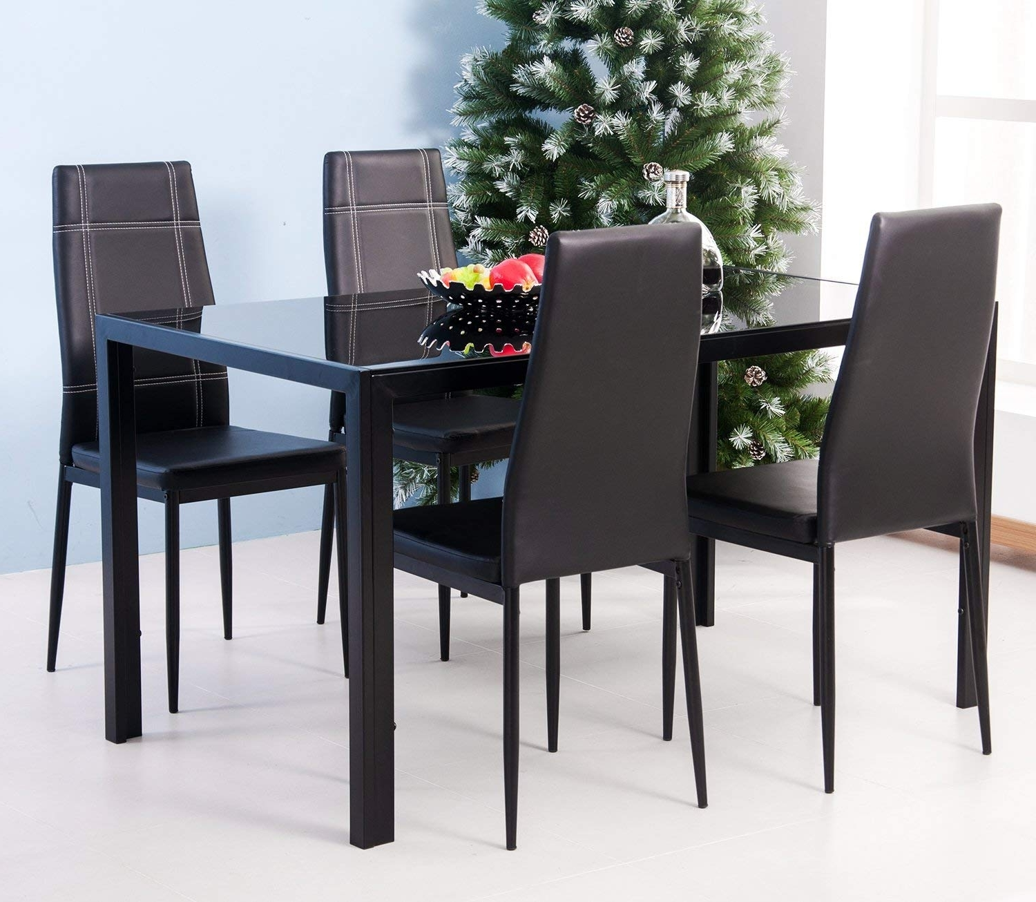 Amazon – Merax 5Pc Glass Top Dining Set 4 Person Dining Table Throughout Well Known Glass Dining Tables Sets (View 17 of 25)