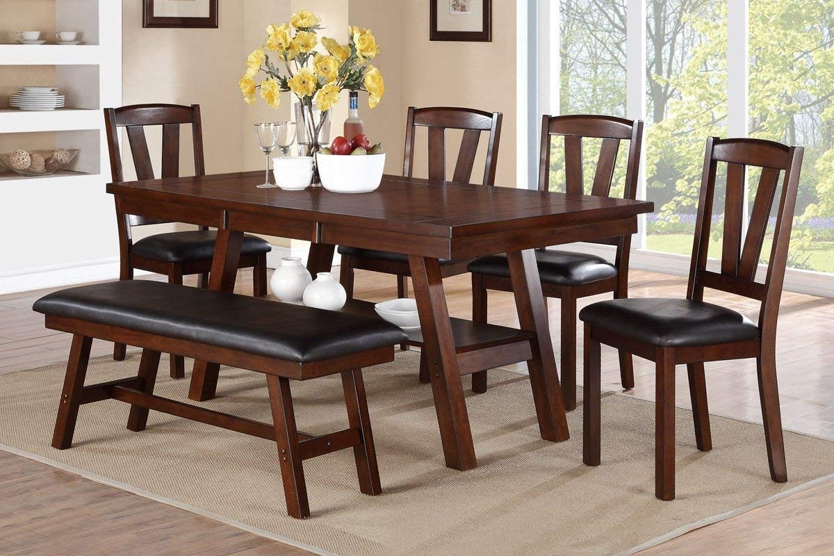 Amazon – Poundex F2271 & F1331 & F1332 Dark Walnut Table Throughout Popular Walnut Dining Table And 6 Chairs (View 7 of 25)