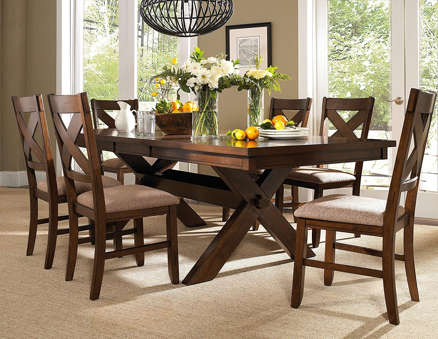 Amazon – Powell 713 417M2 7 Piece Wooden Kraven Dining Set With Regard To Most Popular Dining Table Sets With 6 Chairs (View 2 of 25)