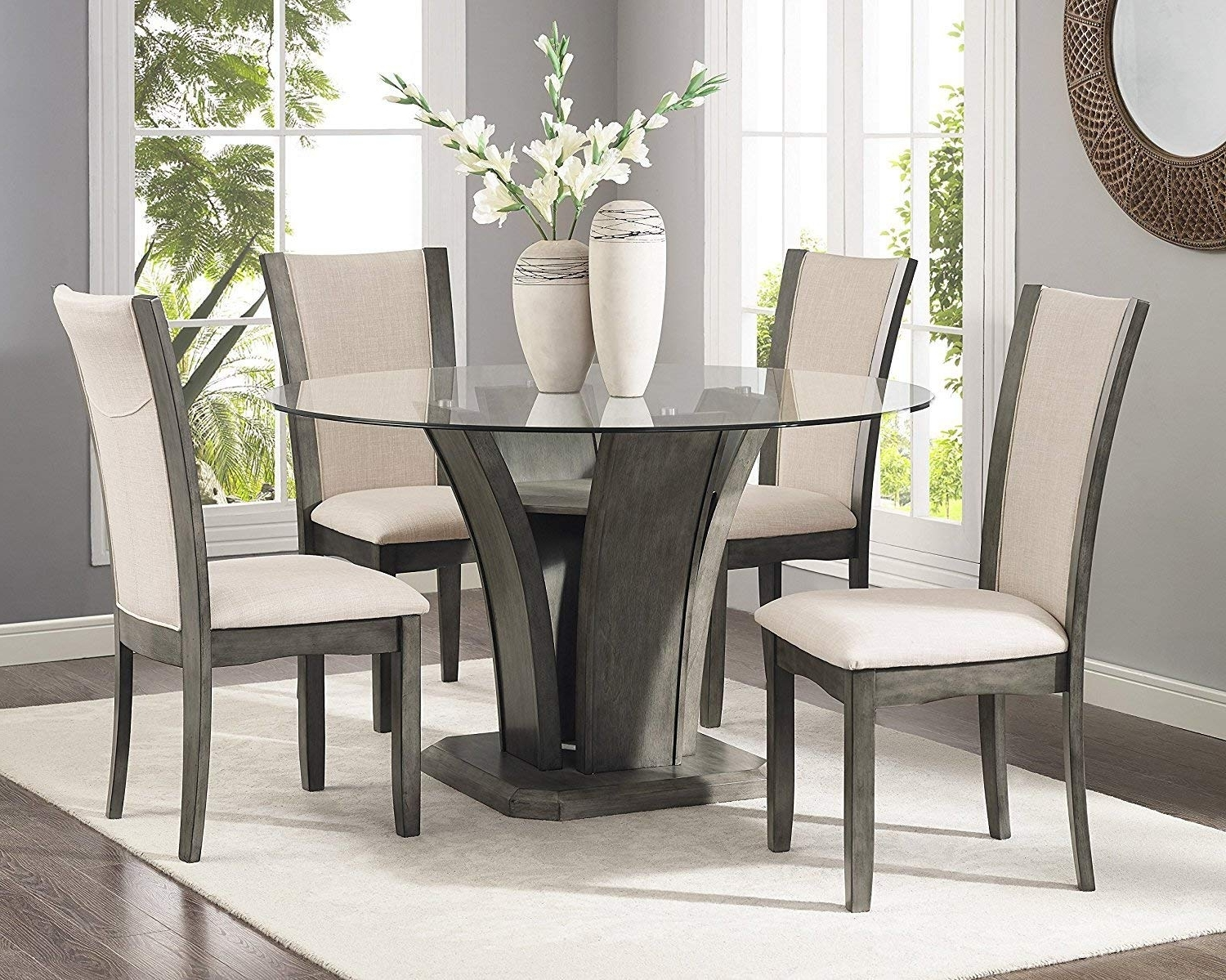 Amazon – Roundhill Furniture D051Gy Kecco Grey 5 Piece Glass Top Throughout Widely Used Laurent 5 Piece Round Dining Sets With Wood Chairs (View 6 of 25)